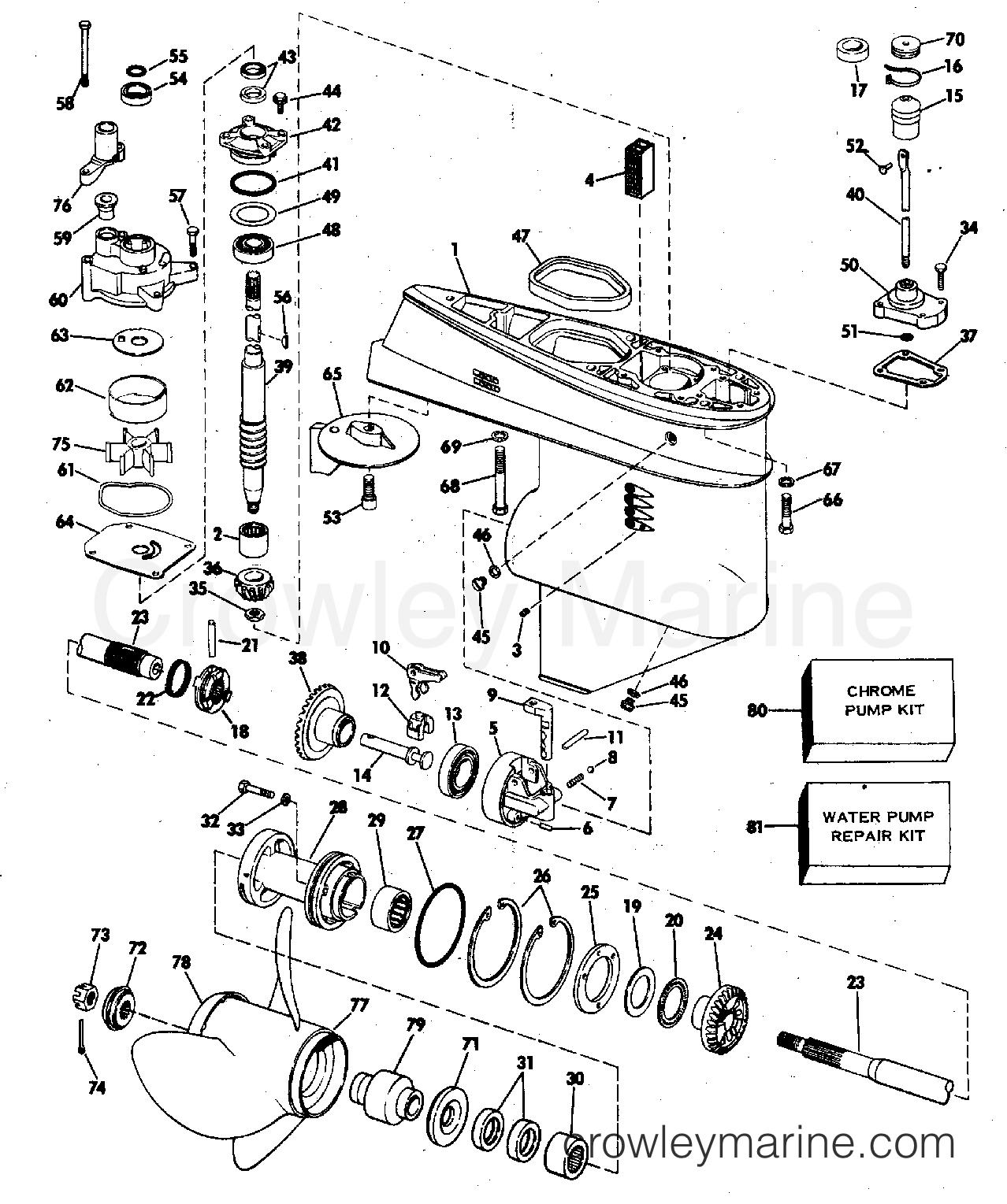gearcase 1976 evinrude outboards 55 55642e crowley marineand move the diagram 1976 evinrude outboards 55 55642e gearcase section