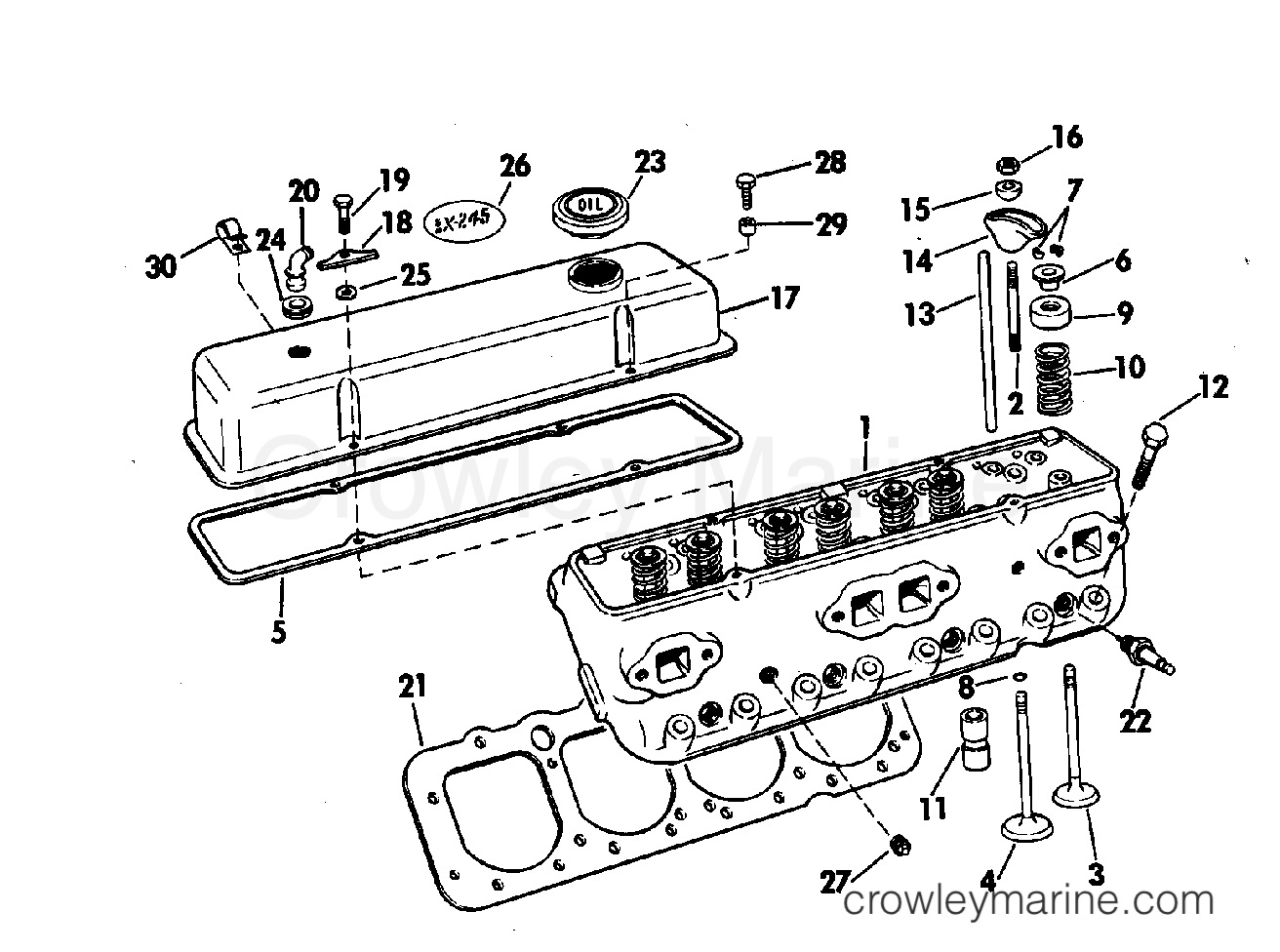 Head And Rocker Arm Group 225 245 Hp Stern Drive 1974 Omc 120 Mercruiser Engine Wiring Diagram 990207ff