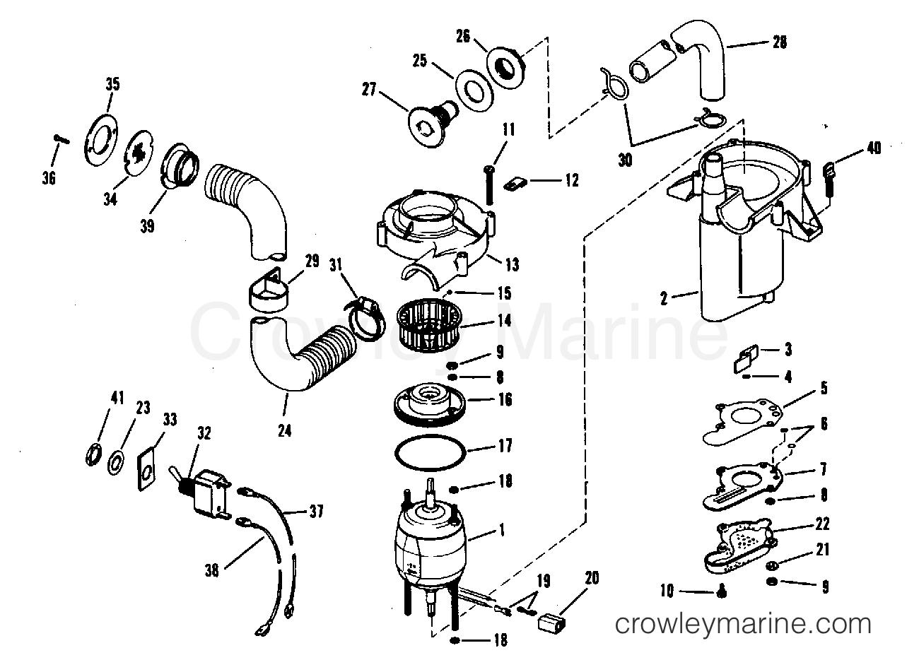 1968 OMC Stern Drive 90 - DU-15S BILGE PUMP & VENT FAN ASSEMBLY-PART NO.379326 section