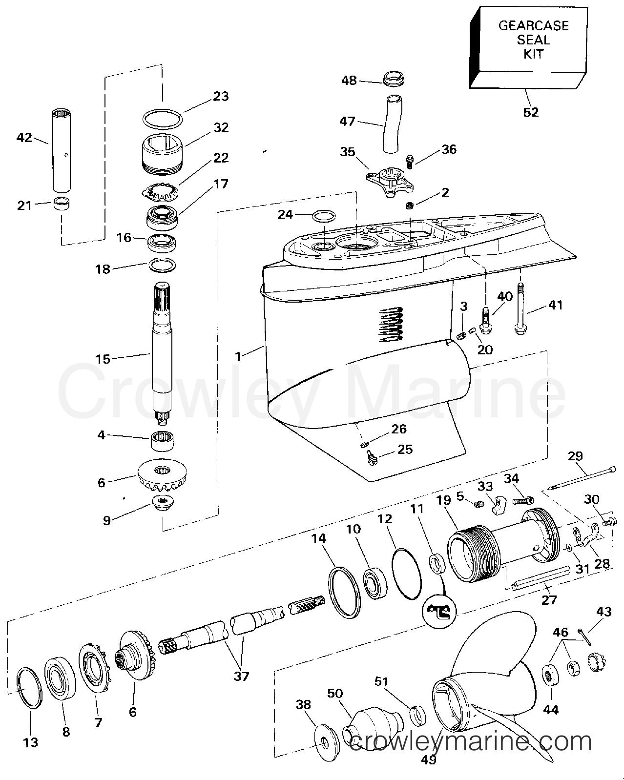 1994 OMC Stern Drive 5.8 - 58FBDPMDA - LOWER GEARCASE