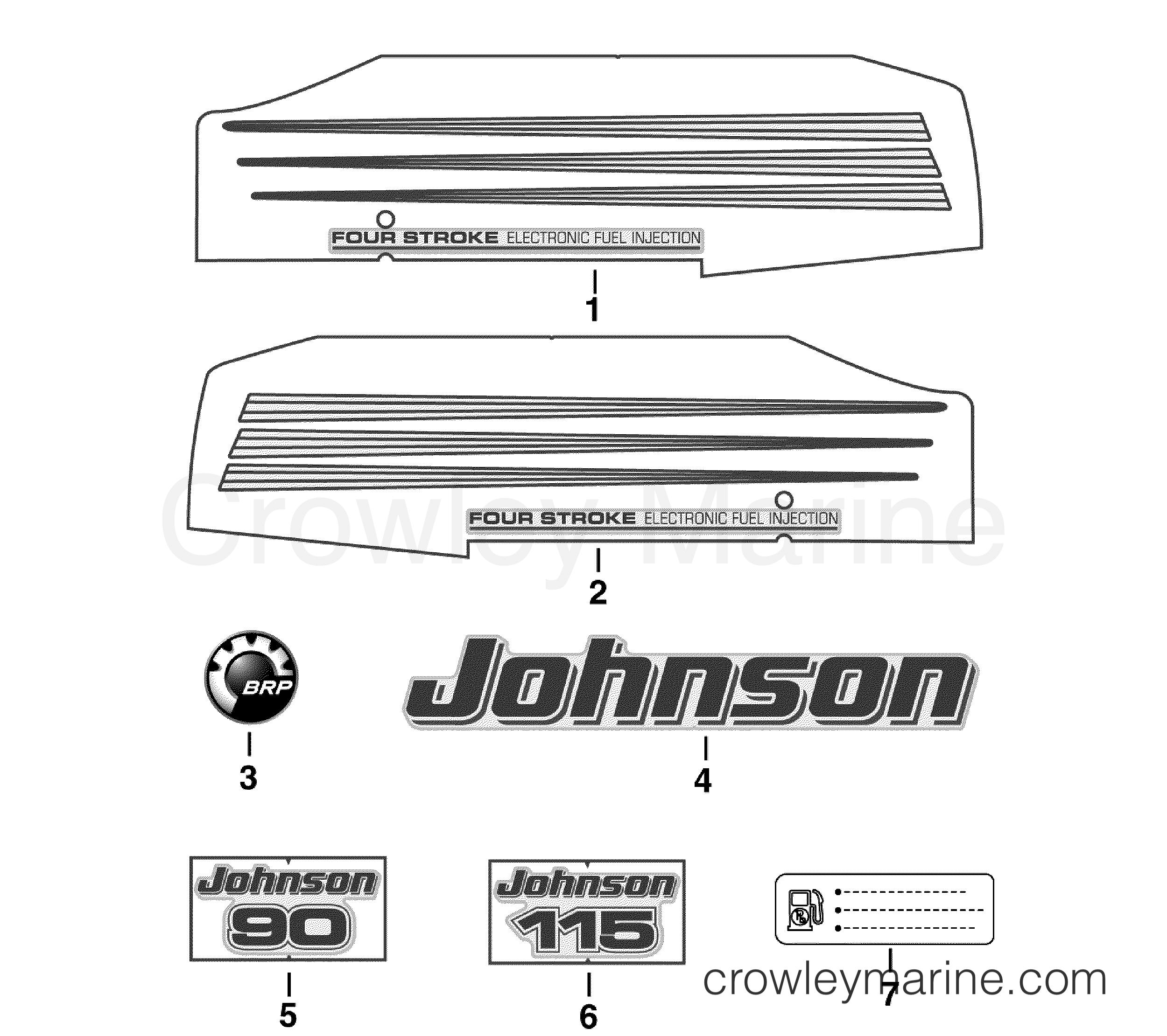 DECALS - 2006 Johnson Outboards 115 J115PL4SDA | Crowley Marine
