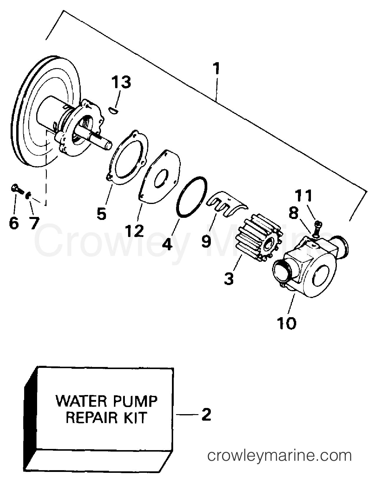 1994 OMC Stern Drive 5.8 - 58FAGPMDM - WATER PUMP