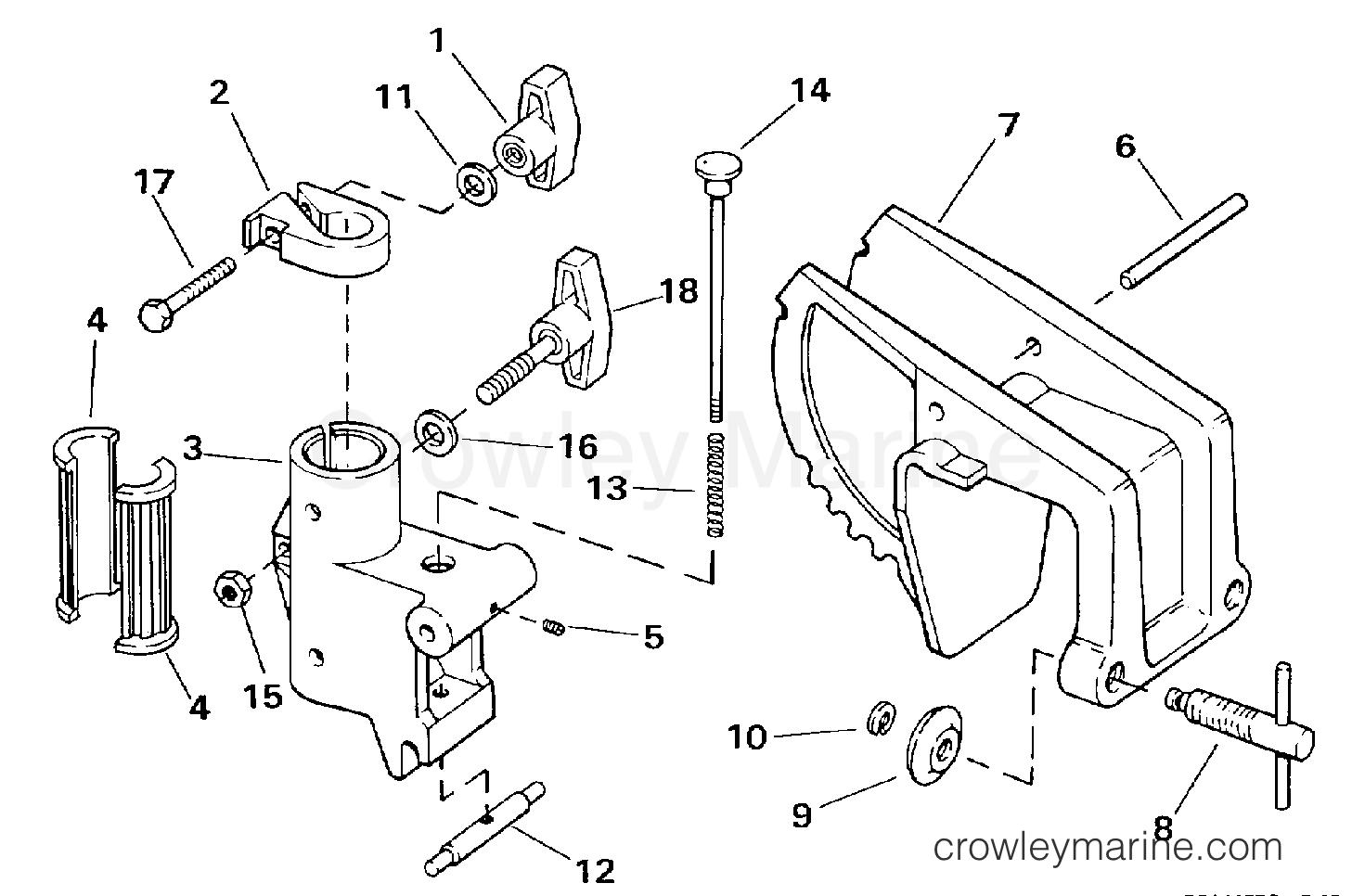 1997 Electric Motors 24 Volt - BF4P - TRANSOM MOUNT STERN BRACKET