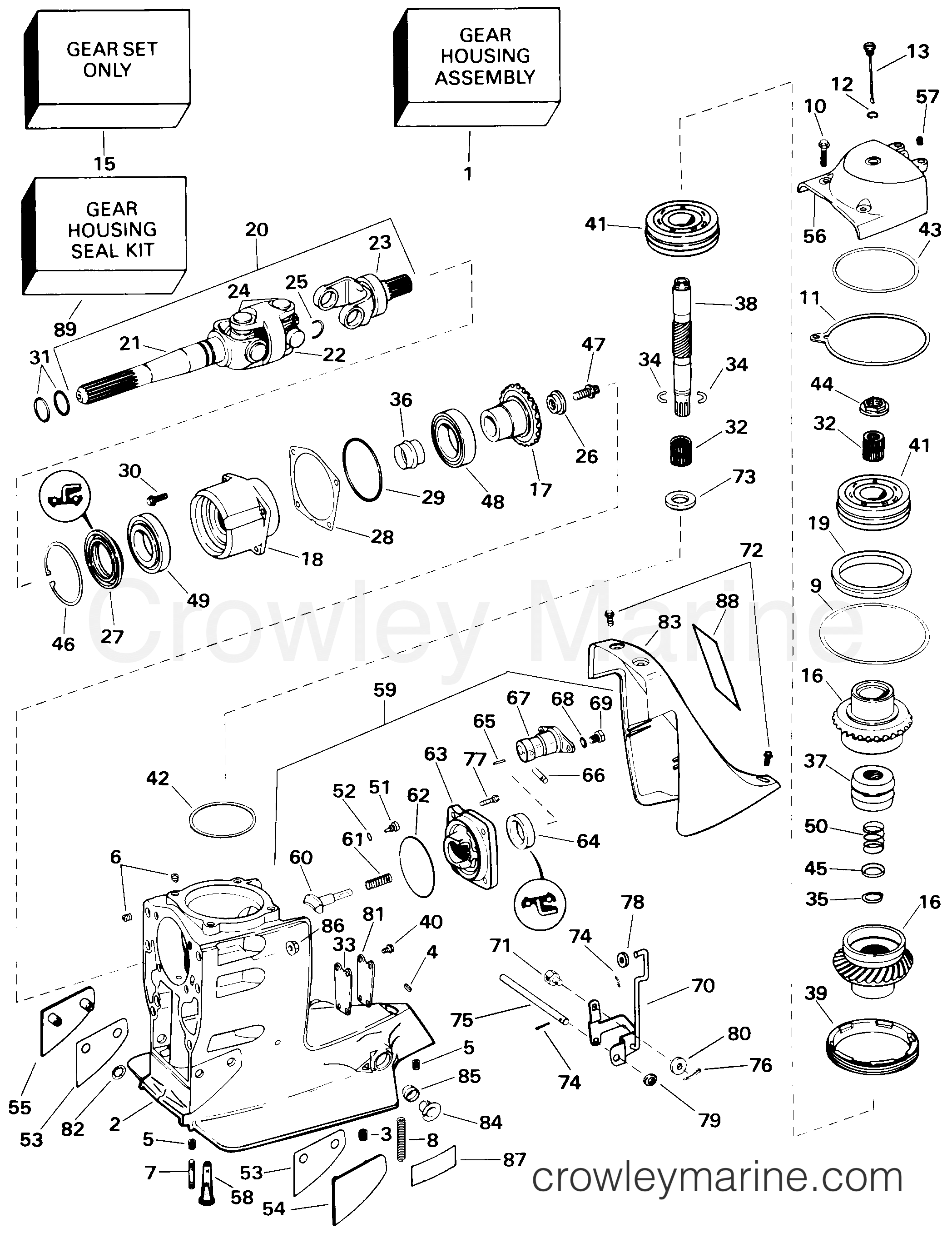 1998 OMC Stern Drive 5 - 50FBPBYC UPPER GEAR HOUSING section