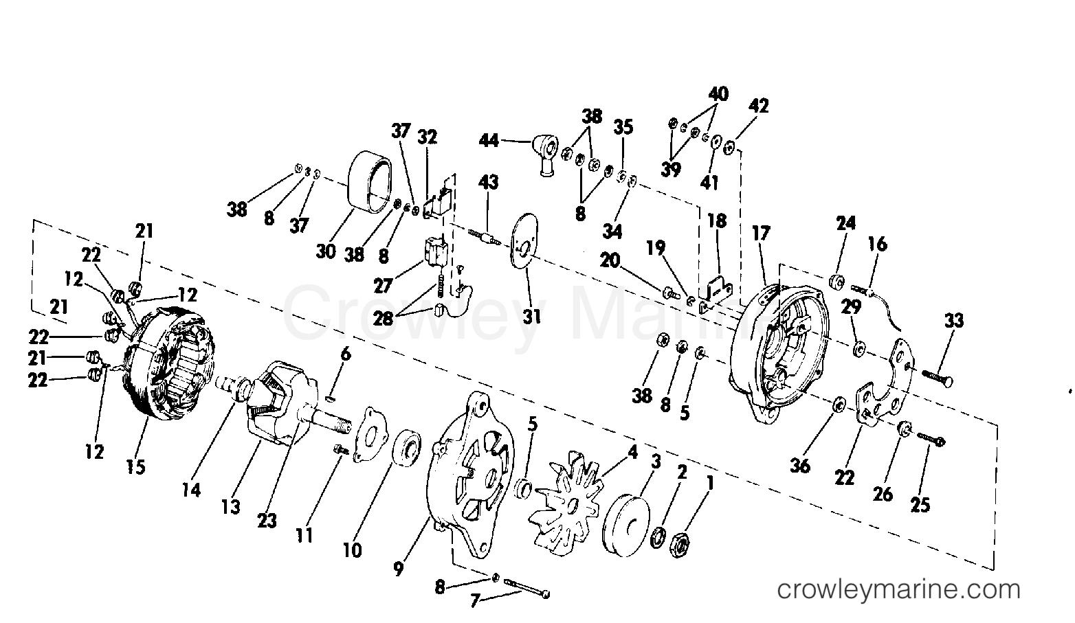 Alternator Group Prestolite Alk 6222ay 1980 Omc Stern Drive 3 Marine Wiring Diagram 990334c Section