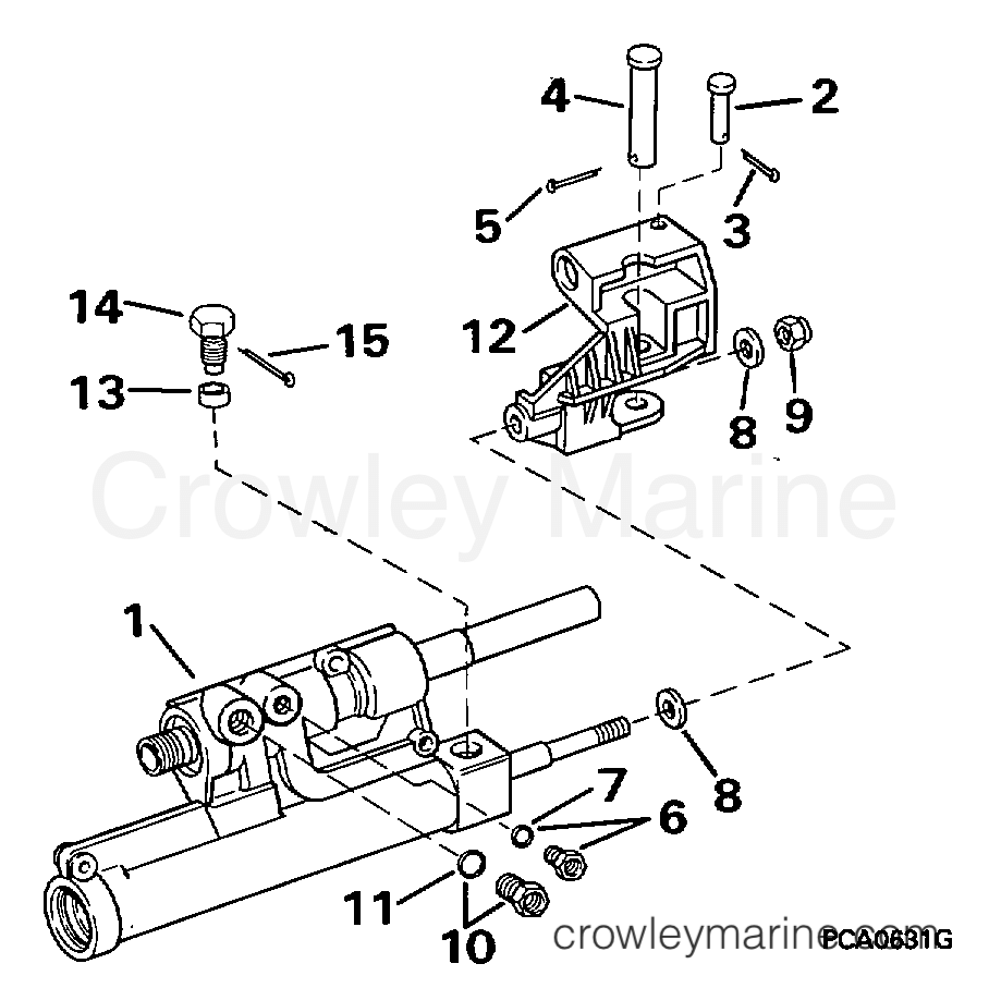 1995 OMC Stern Drive 5 - 50FAPHUB POWER STEERING CYLINDER section
