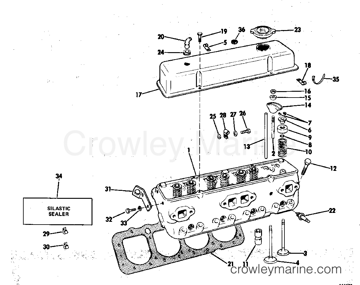 1982 OMC Stern Drive 5 - 504SPMCCNG - CYLINDER HEAD GROUP section
