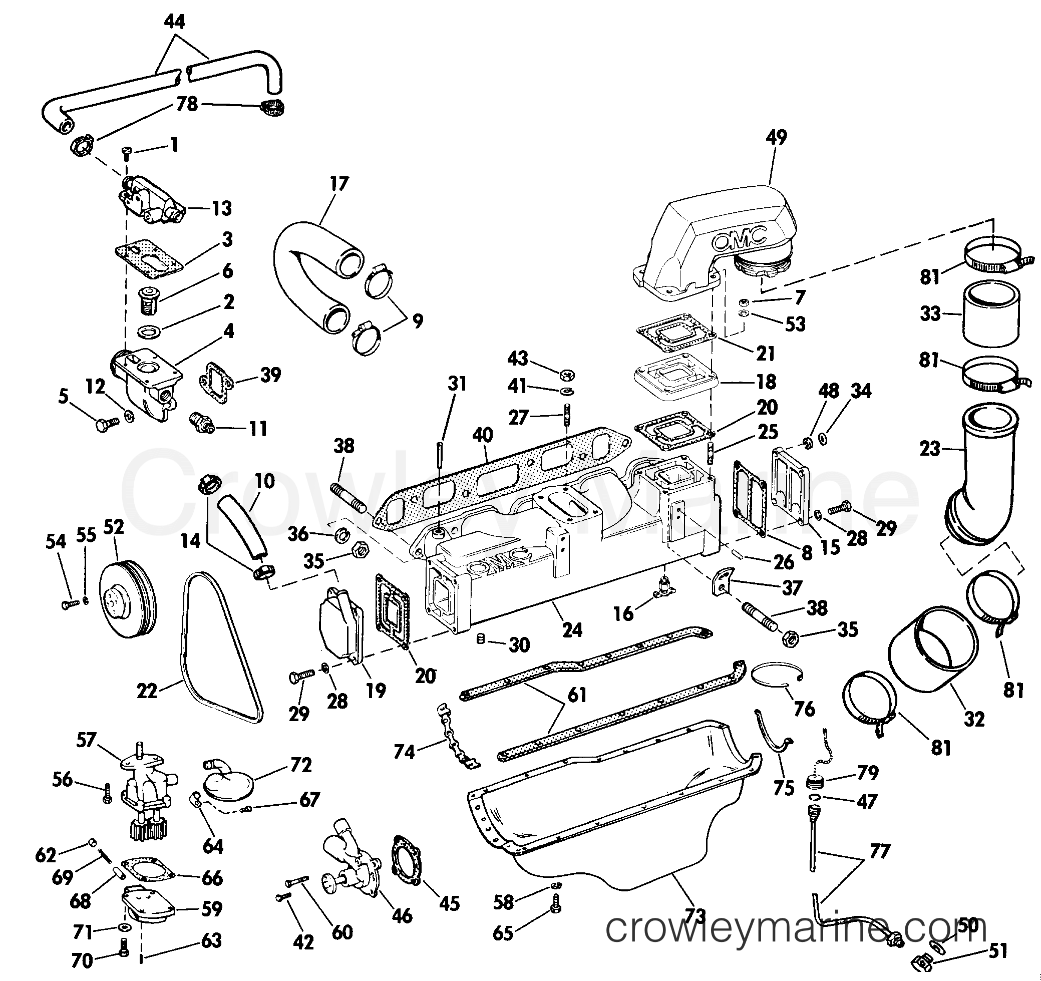 Omc Cooling Diagram Detailed Schematics Chrysler Marine Oiling Group 2 5 Litre Models 1985 Stern Drive Engine Parts