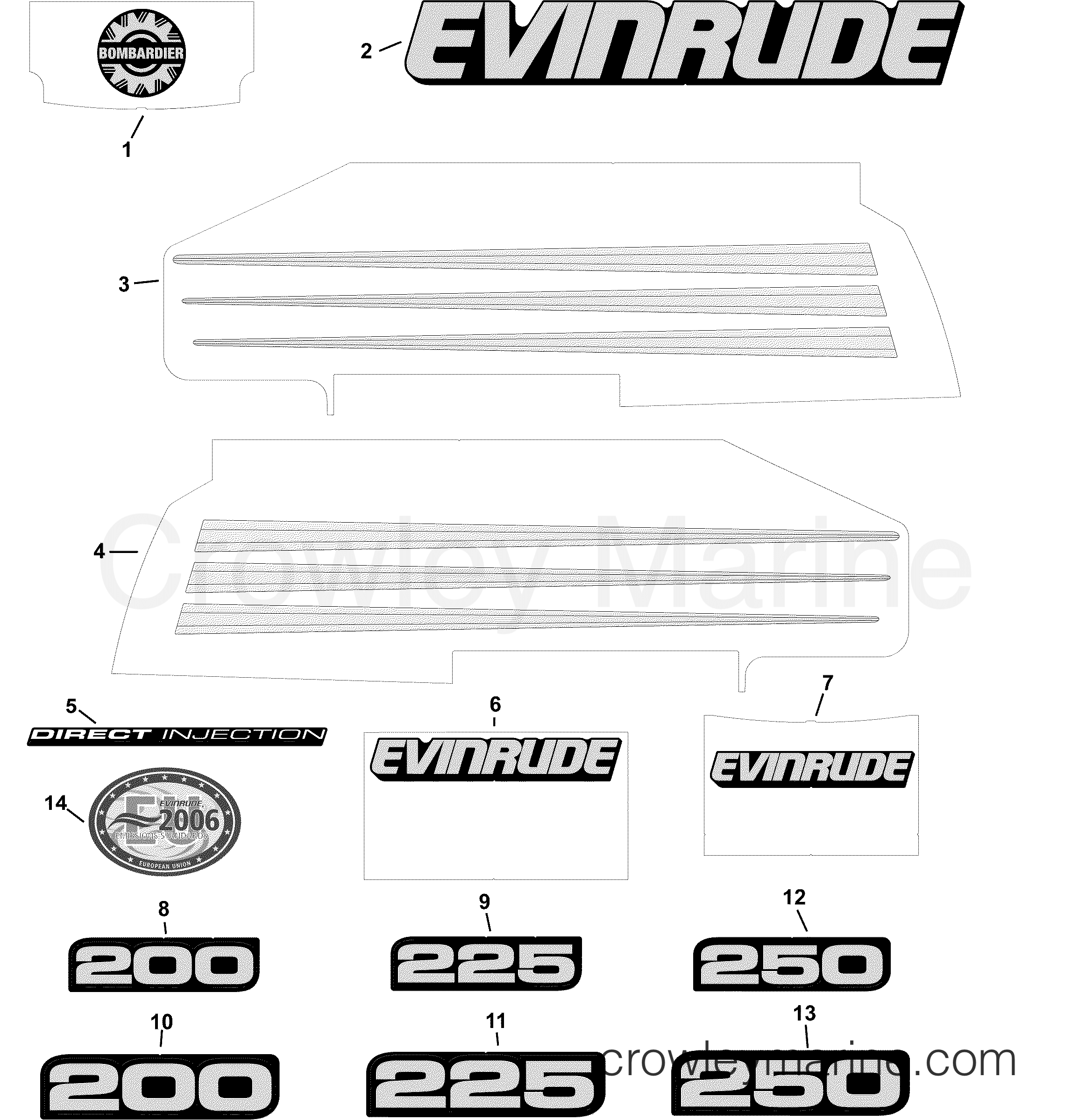2004 Evinrude Outboards 200 - E200FCXSRB DECALS - BLUE MODELS section