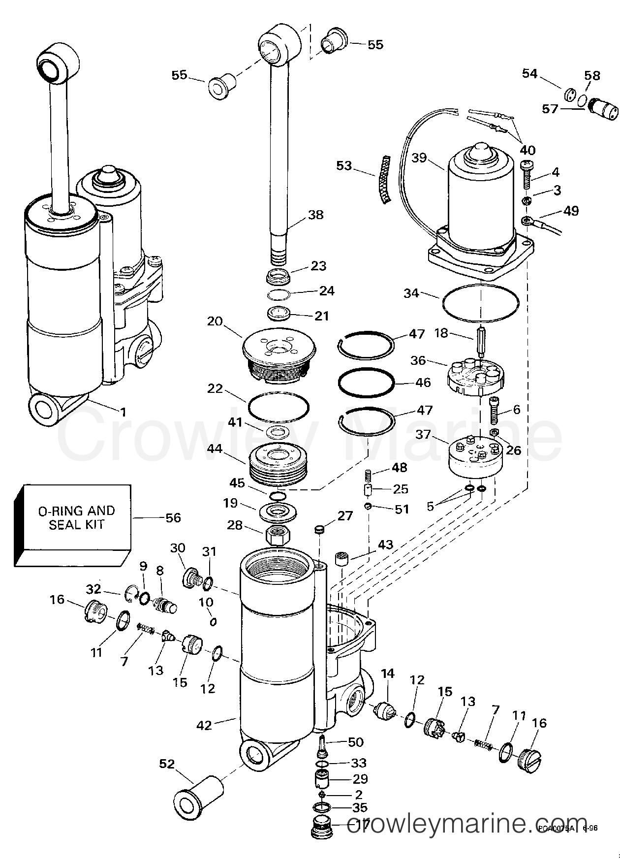 1998 Johnson Outboards 50 - X50ESLECC POWER TRIM/TILT section