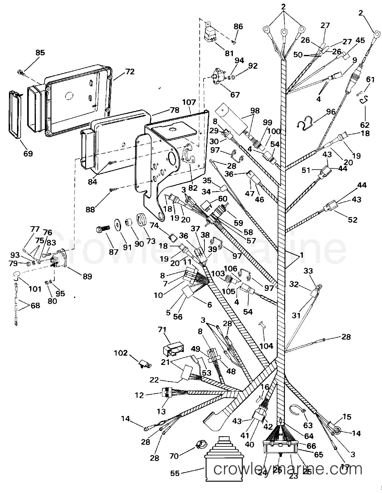 1994 OMC Stern Drive 5.8 - 58FAGPMDM - ENGINE WIRE HARNESS & BRACKET
