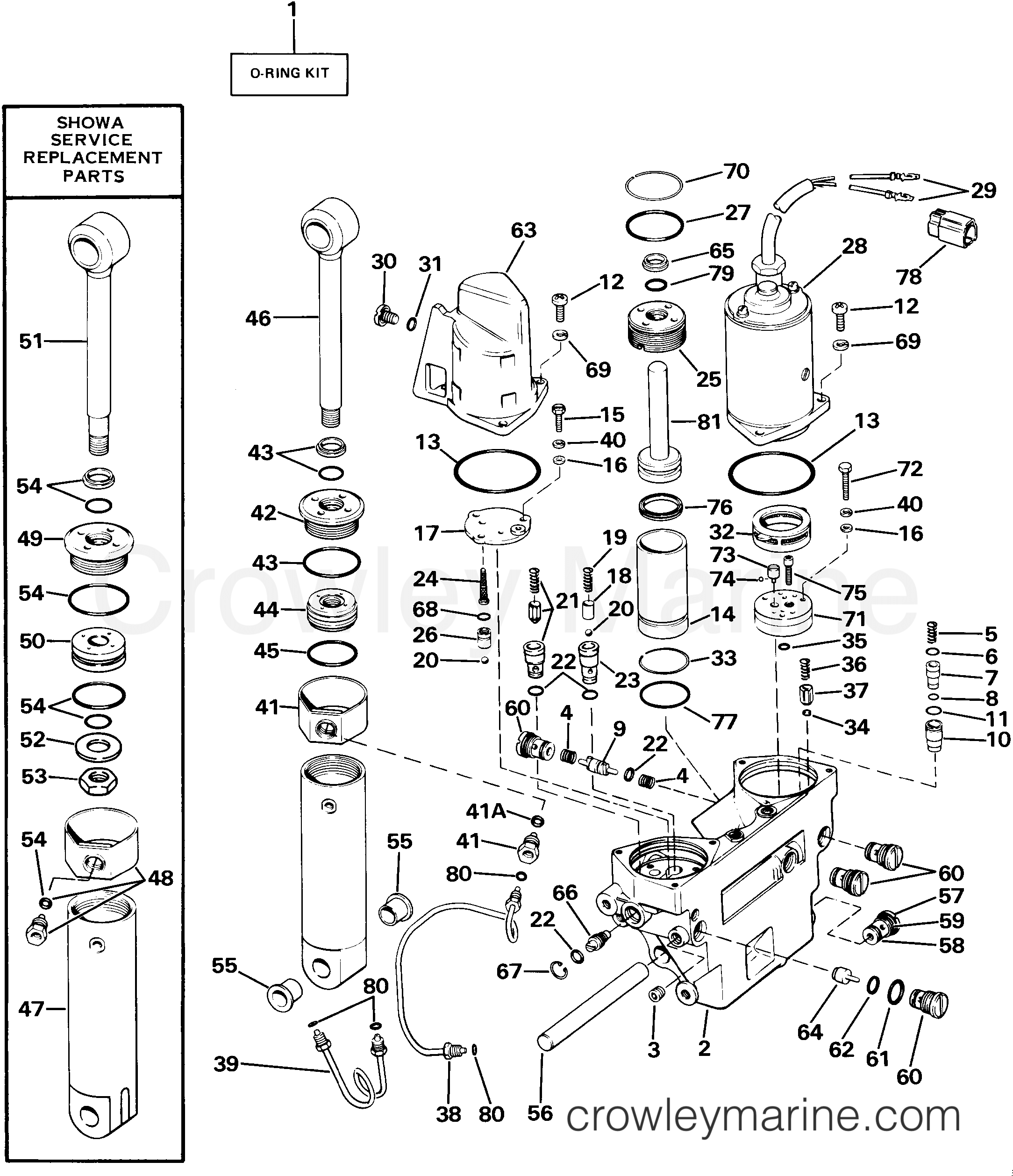 Power Trim Tilt Hydraulic Assembly 1985 Evinrude