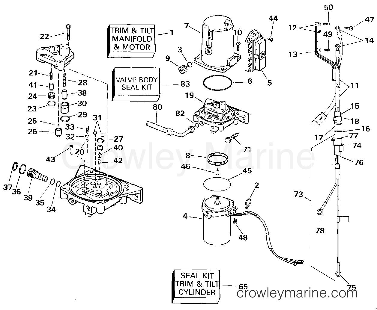 1994 OMC Stern Drive 5.8 - 58FAGPMDM - POWER TRIM AND TILT
