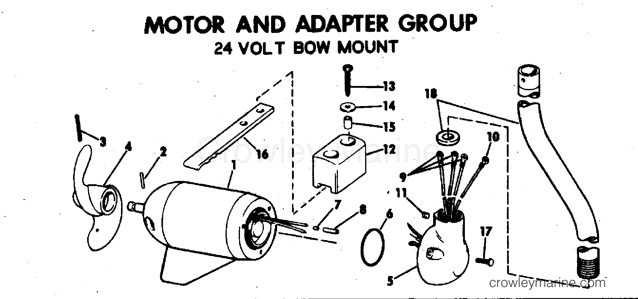 1978 Electric Motors 12 Volt - EB52R - MOTOR AND ADAPTER GROUP 24 VOLT BOW MOUNT