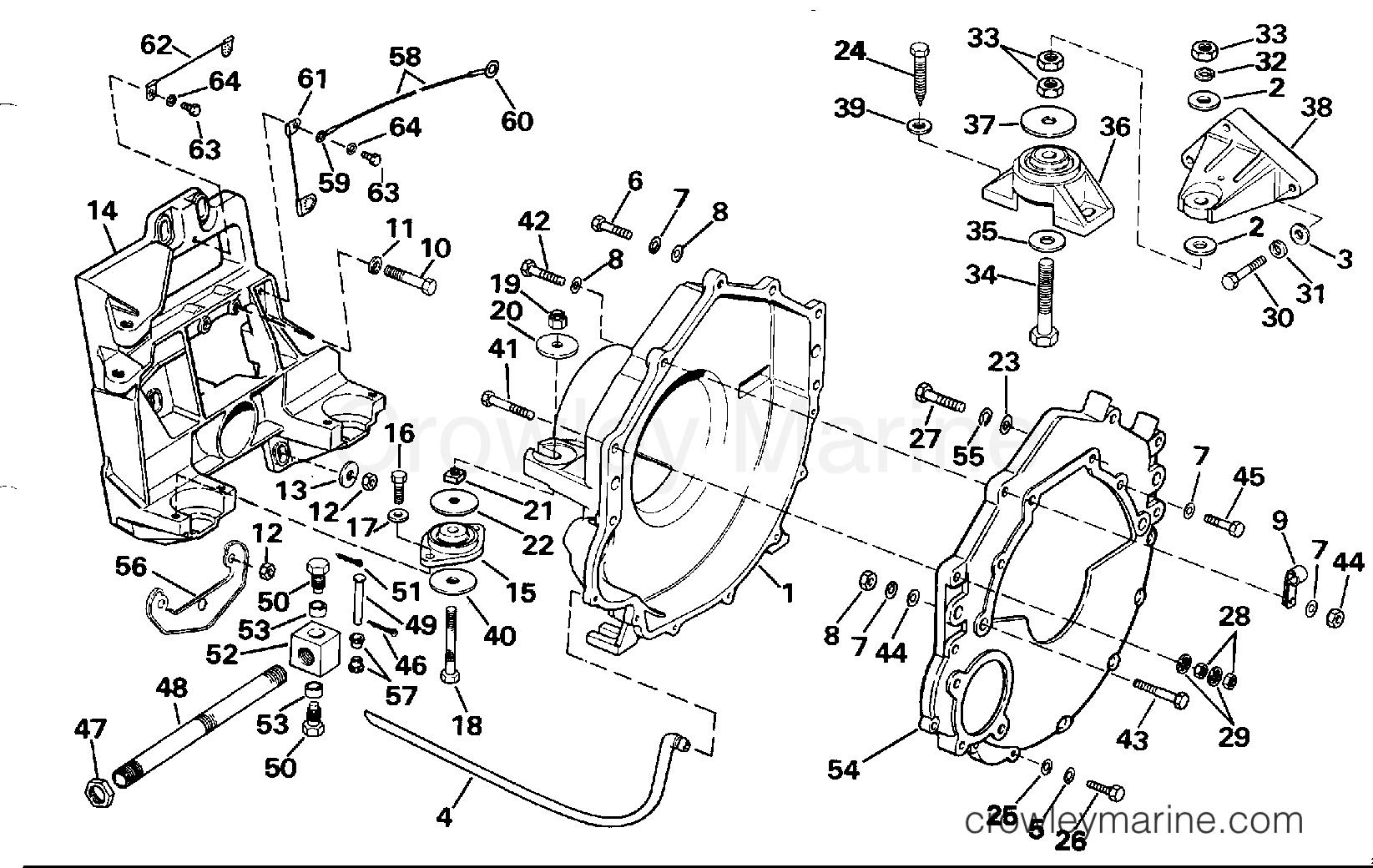 1990 OMC Stern Drive 2.3 - 232BMRPWS TRANSOM PLATE, FLYWHEEL HOUSING & MOUNTS section