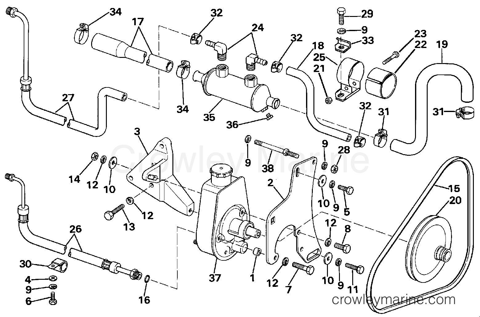 1988 OMC Stern Drive 2.3 - 232AMRGDE POWER STEERING PUMP section
