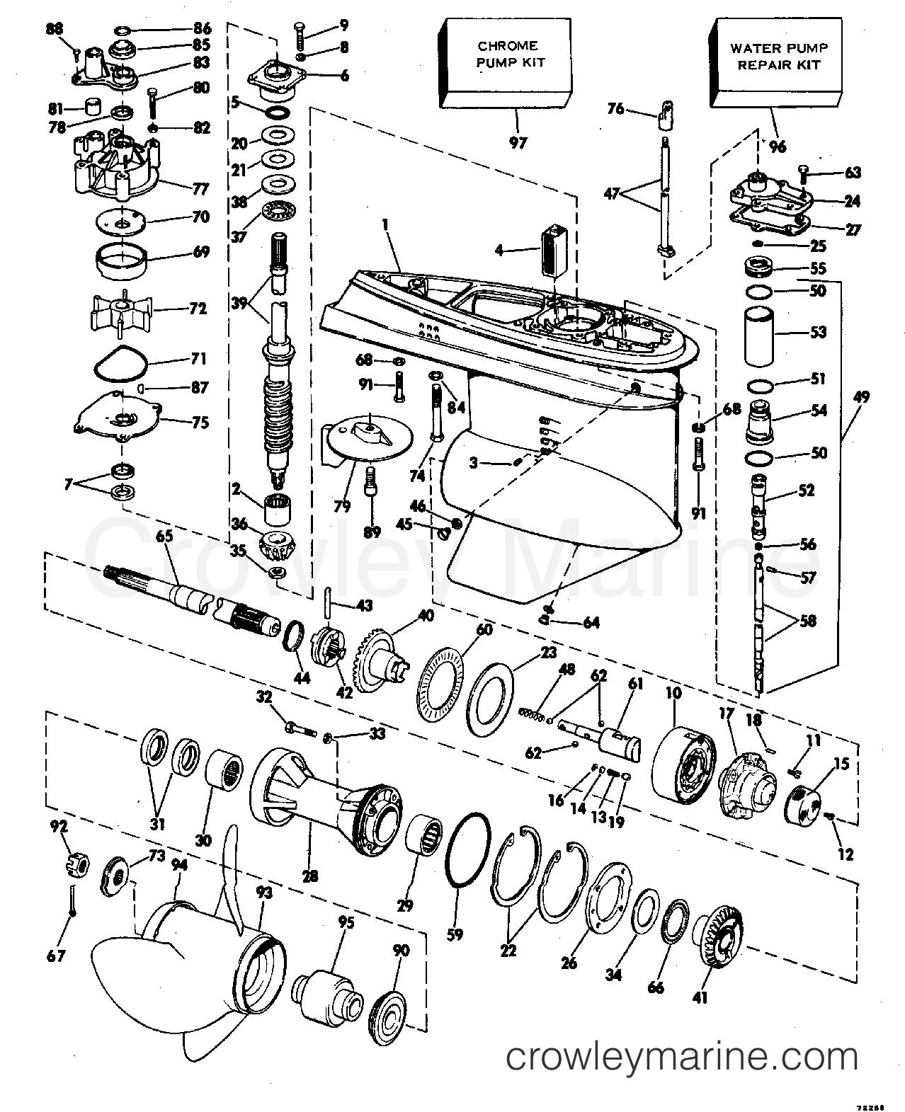 GEARCASE - 1977 Evinrude Outboards 140 140743S | Crowley ...