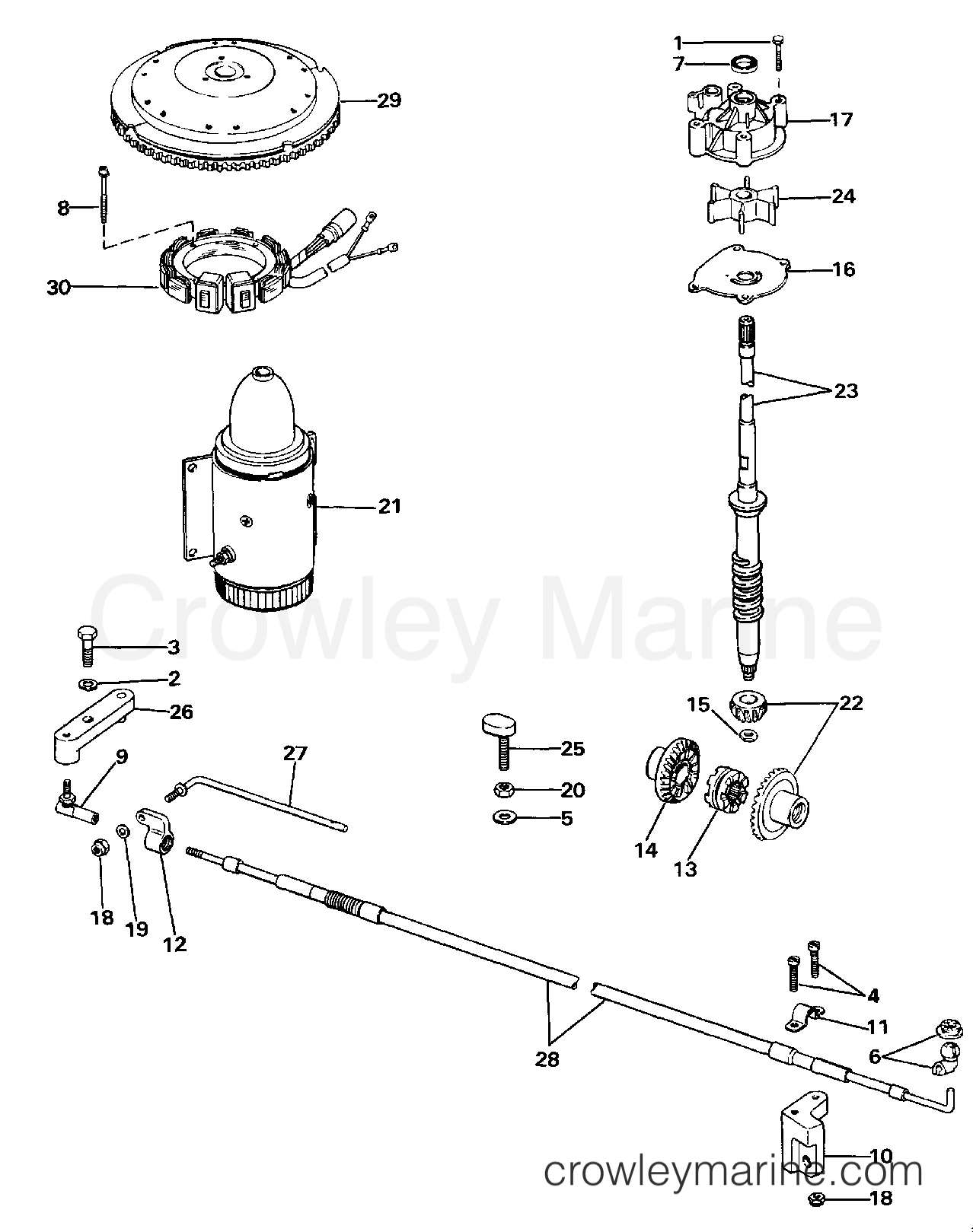1986 Evinrude Outboards 275 - CE275TLCDC COUNTER ROTATION GEARCASE KIT section