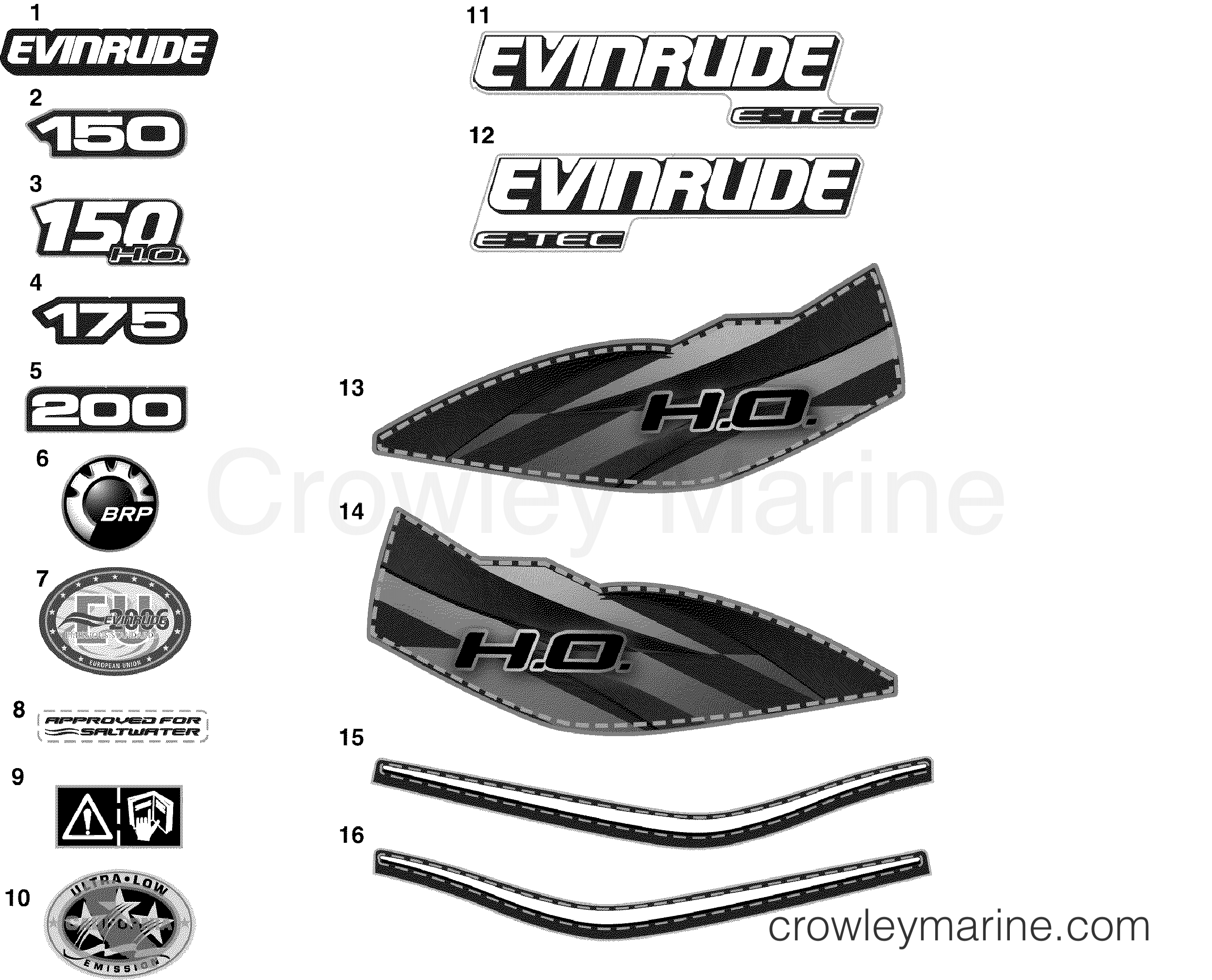 2010 Evinrude Outboards 150 - E150DBXISF DECALS section