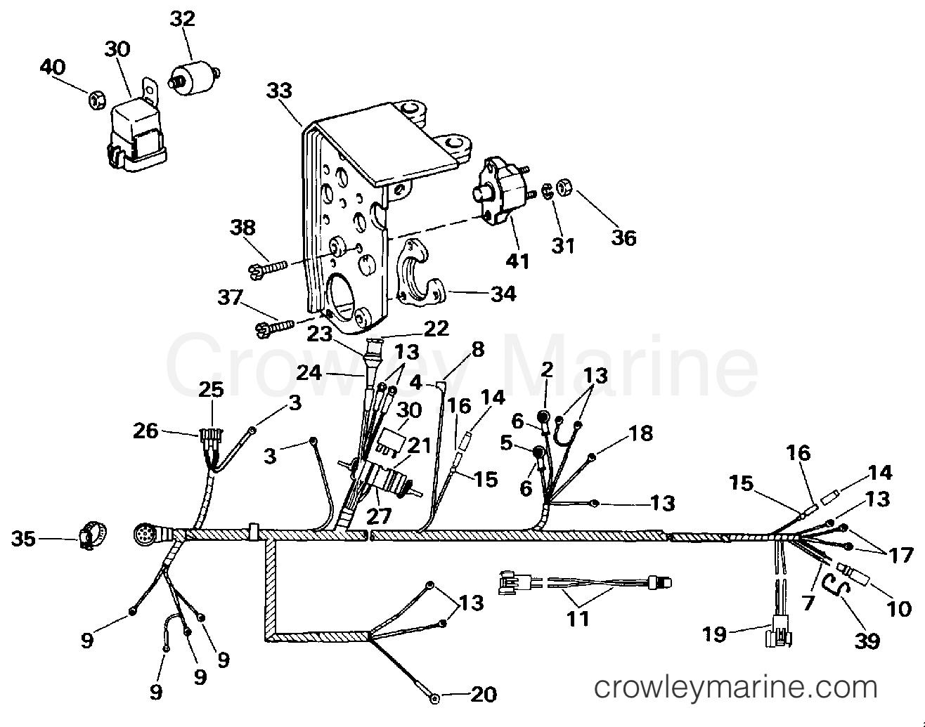 1994 omc stern drive 4 3 - 432acmmda - engine wire harness & shift module  section