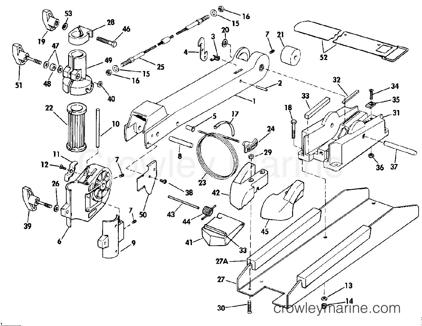 """1990 Electric Motors 24 Volt - BF4K BOW ARM AND DECK BRACKET GROUP (""""K"""" MODEL SUFFIX) section"""