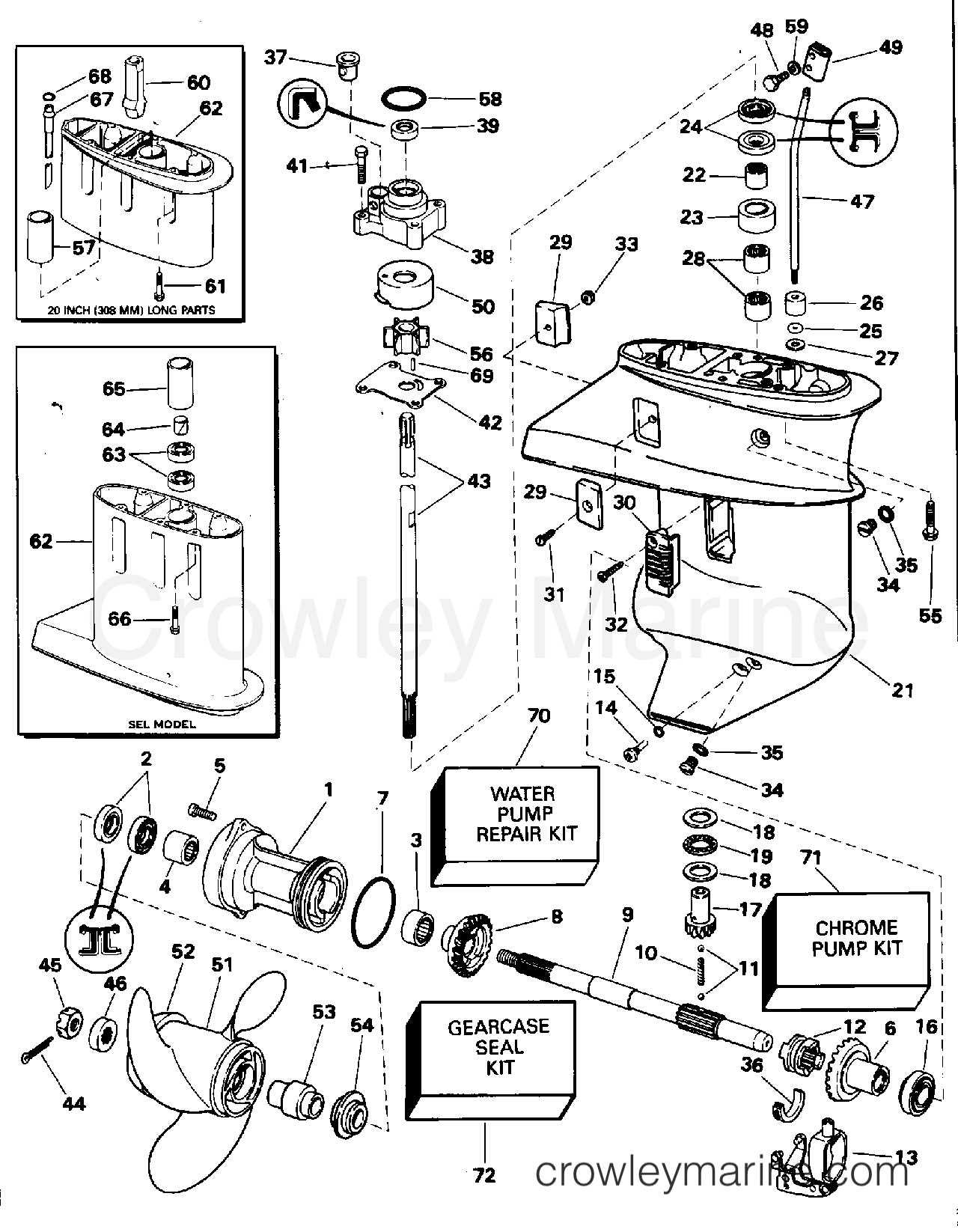 1994 Evinrude Outboards 9.9 - E10ELERB GEARCASE section