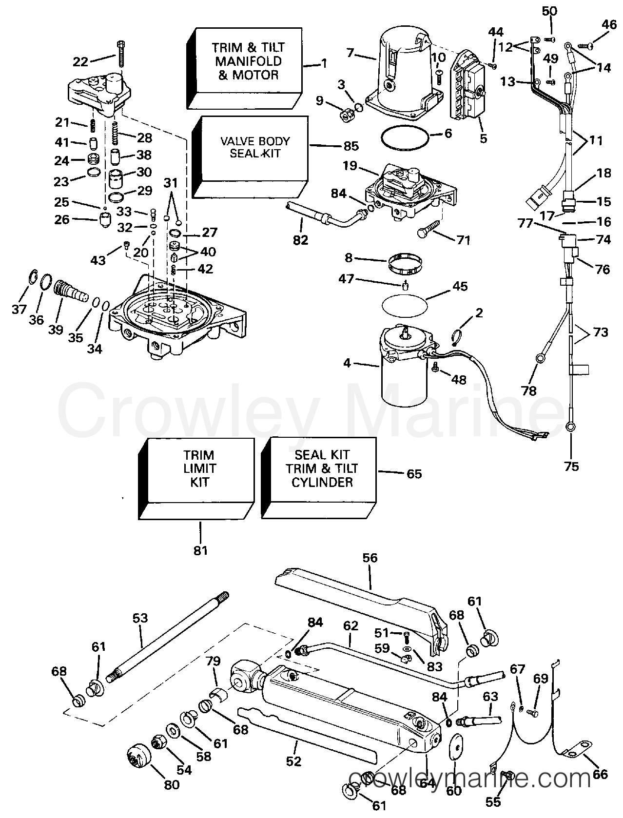 1994 OMC Stern Drive 7.4 - 744DJPMDA - POWER TRIM AND TILT