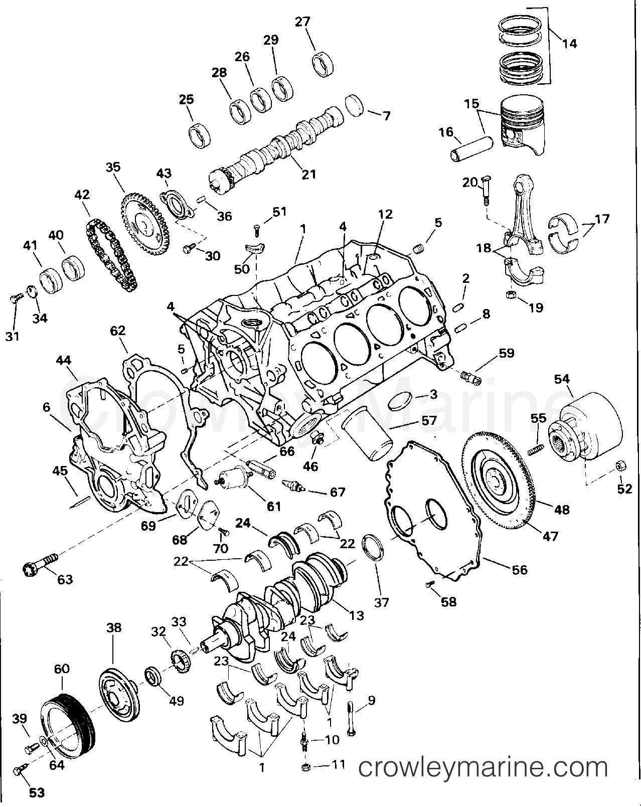 1994 OMC Stern Drive 5.8 - 58FAGPMDM - CRANKCASE - 5.8 LITRE