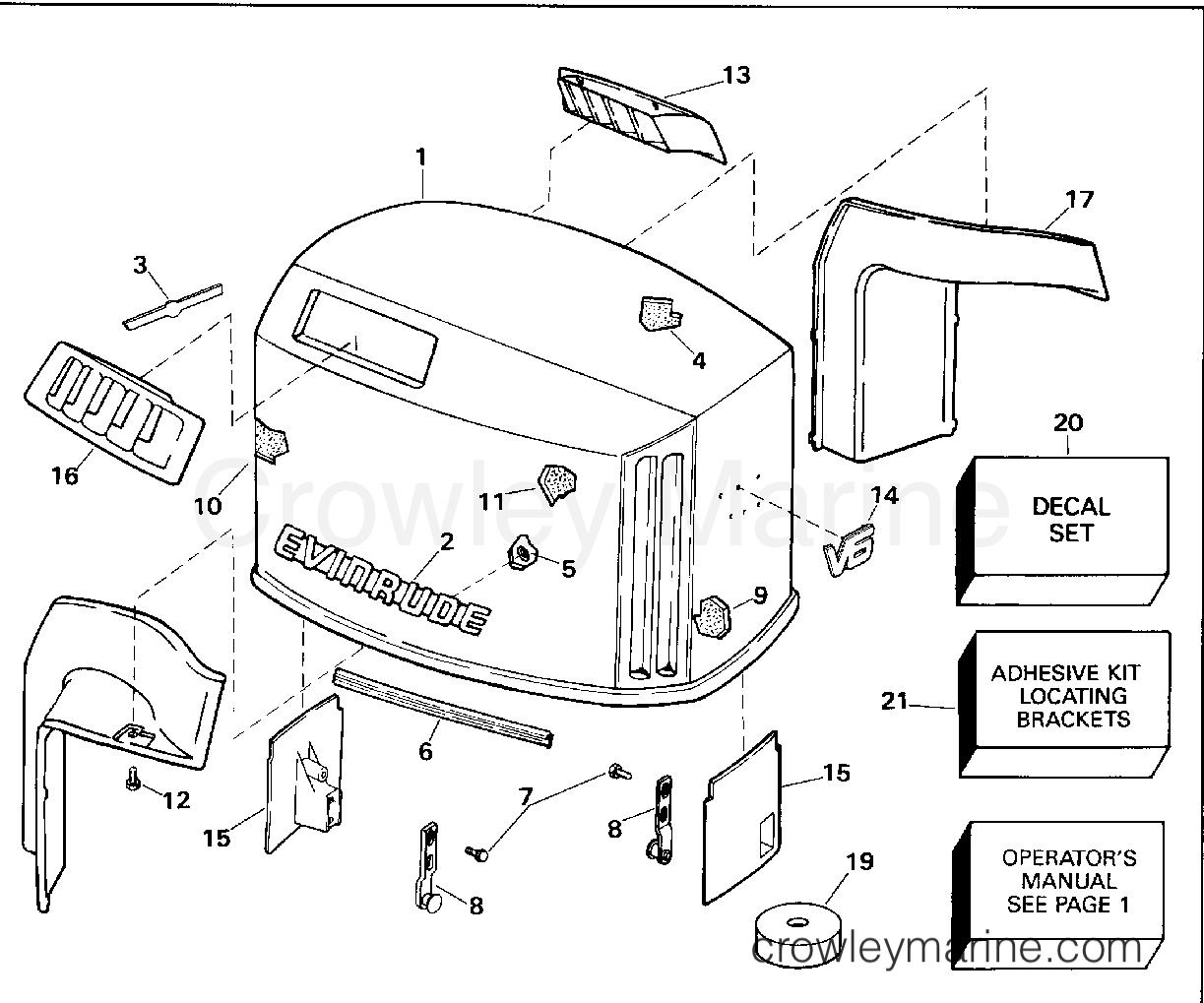 1994 OMC Quiet Rider 150 - 150SHLERC ENGINE COVER - EVINRUDE section