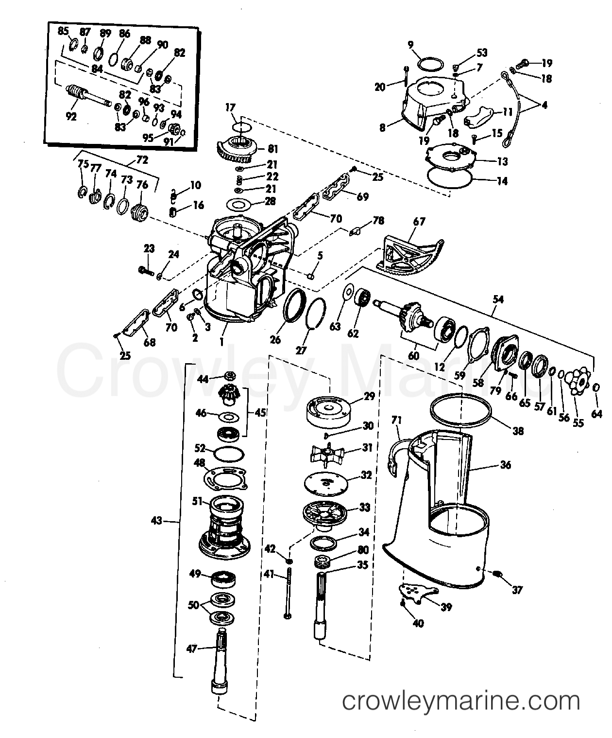 1972 OMC Stern Drive 225 - TUFM-21C - UPPER GEARCASE GROUP 155, 225