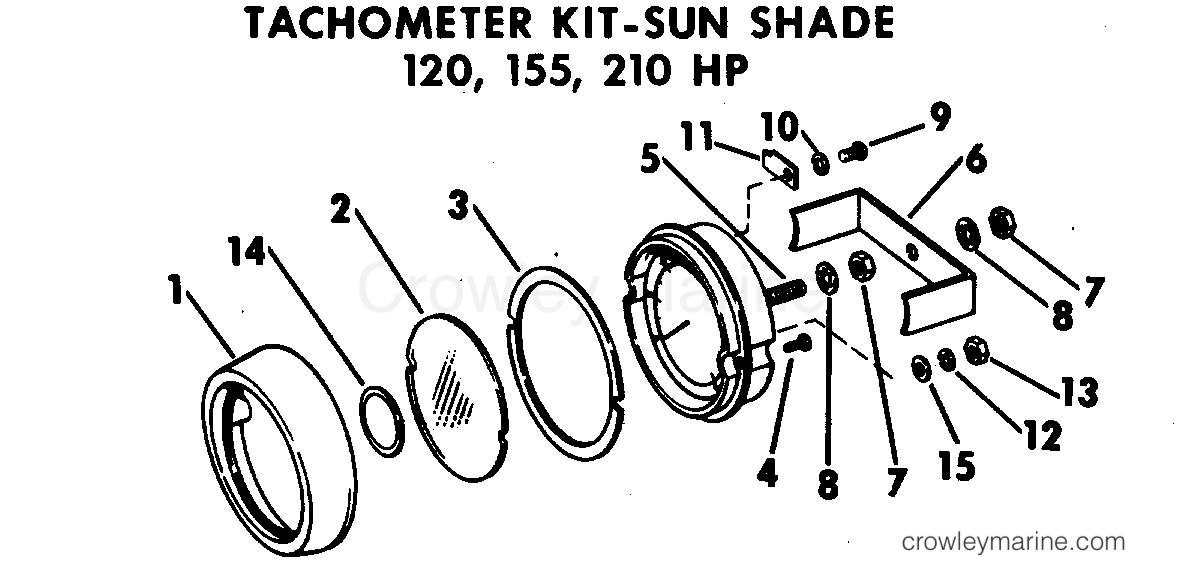1969 OMC Stern Drive 80 - NUE-10S - TACHOMETER KIT - SUN SHADE 120,155,210 HP