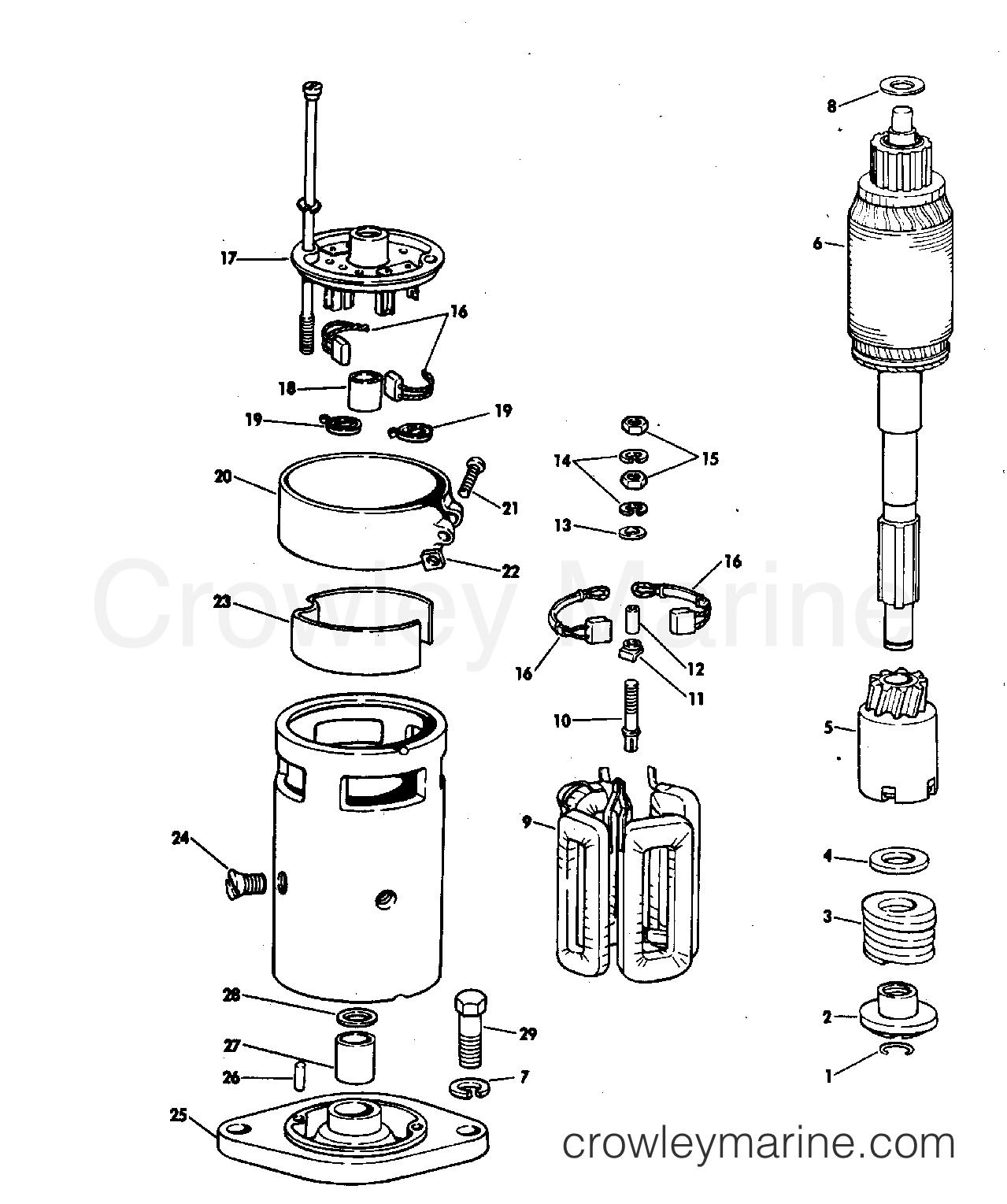 1969 OMC Stern Drive 80 - NUE-10S - STARTER MOTOR GROUP 80 HP