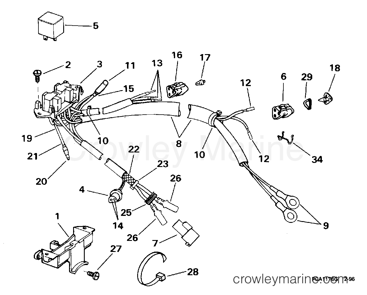 Power Trim Tilt Electrical 1996 Evinrude Outboards 115 Be115eledr Mercury Outboard Wiring Diagram Section