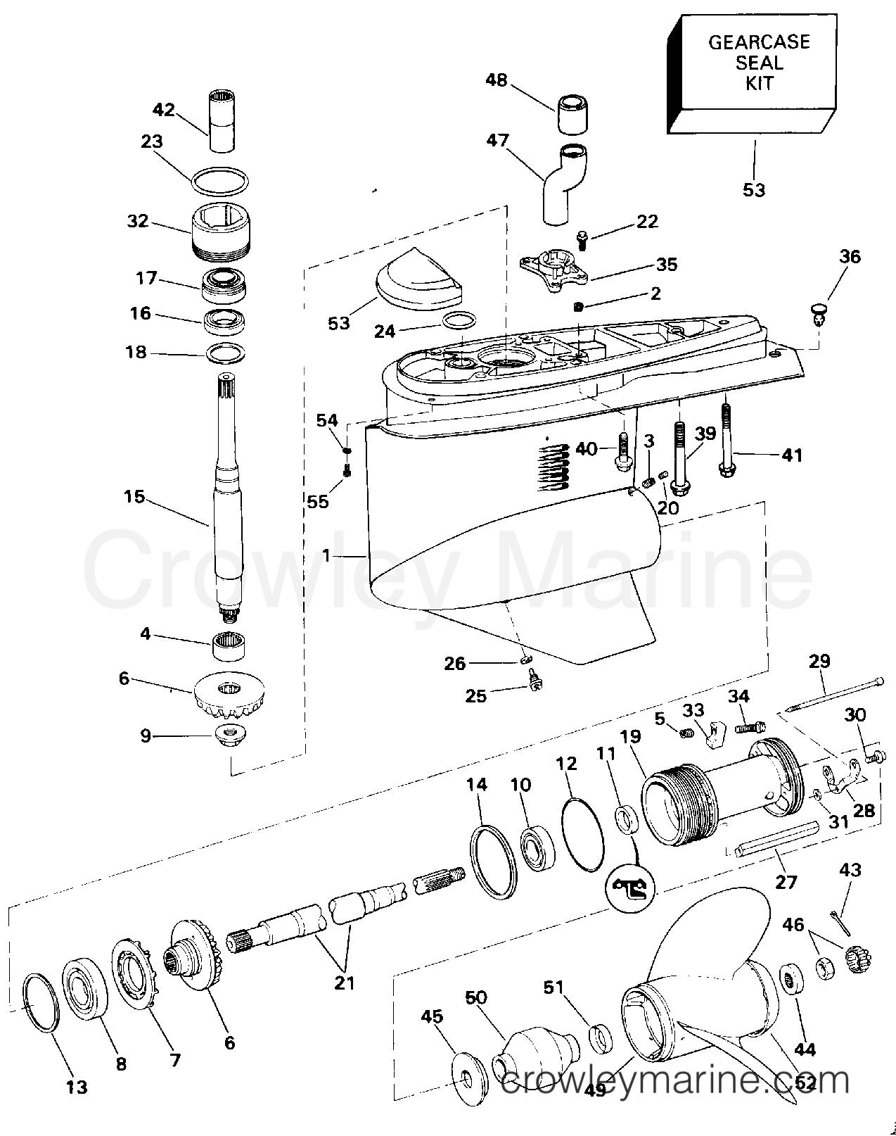 1994 OMC Stern Drive 5.8 - 58FAGPMDM - LOWER GEARCASE