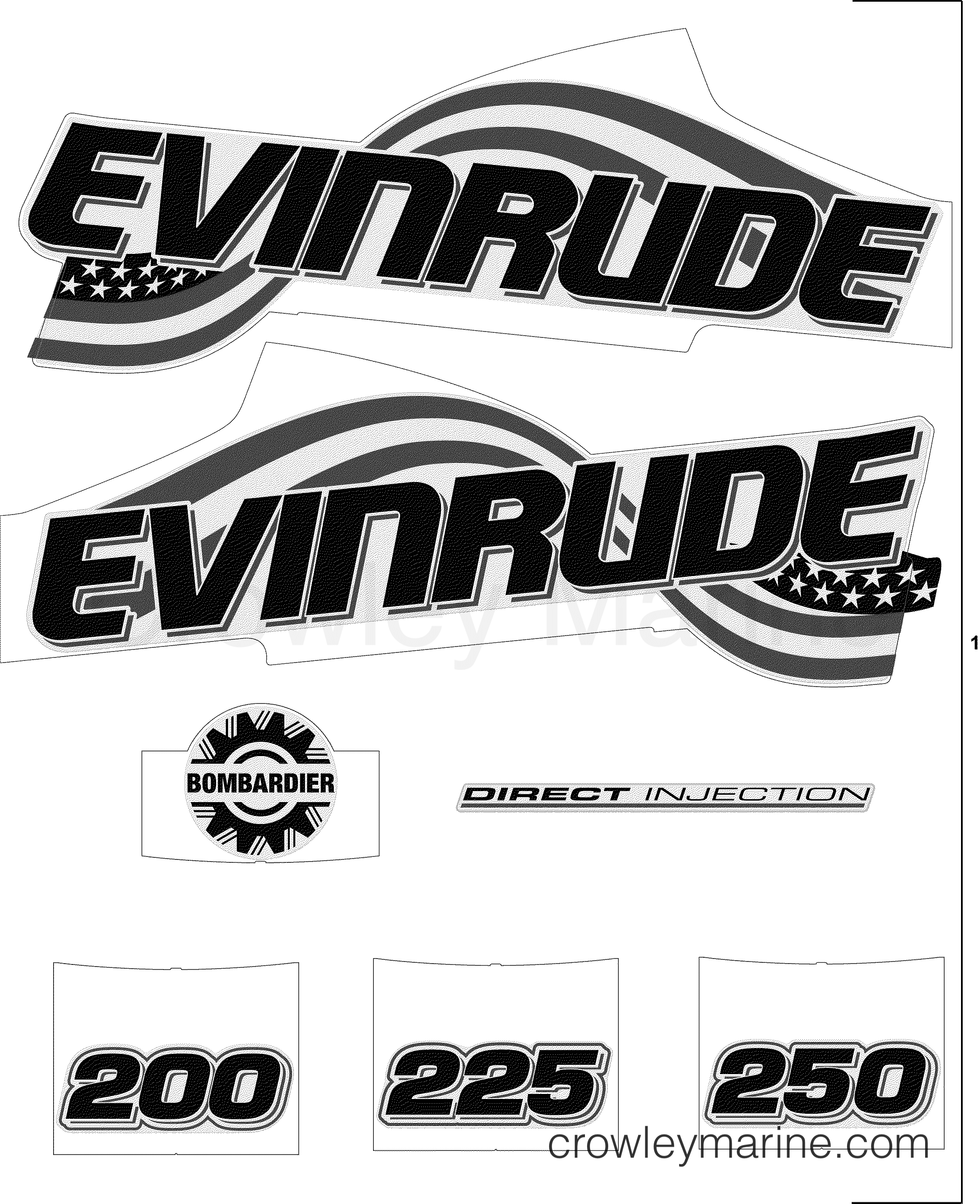 2005 Evinrude Outboards 200 - E200FCXSOE DECAL ACCESSORY SET - WHITE MODELS section
