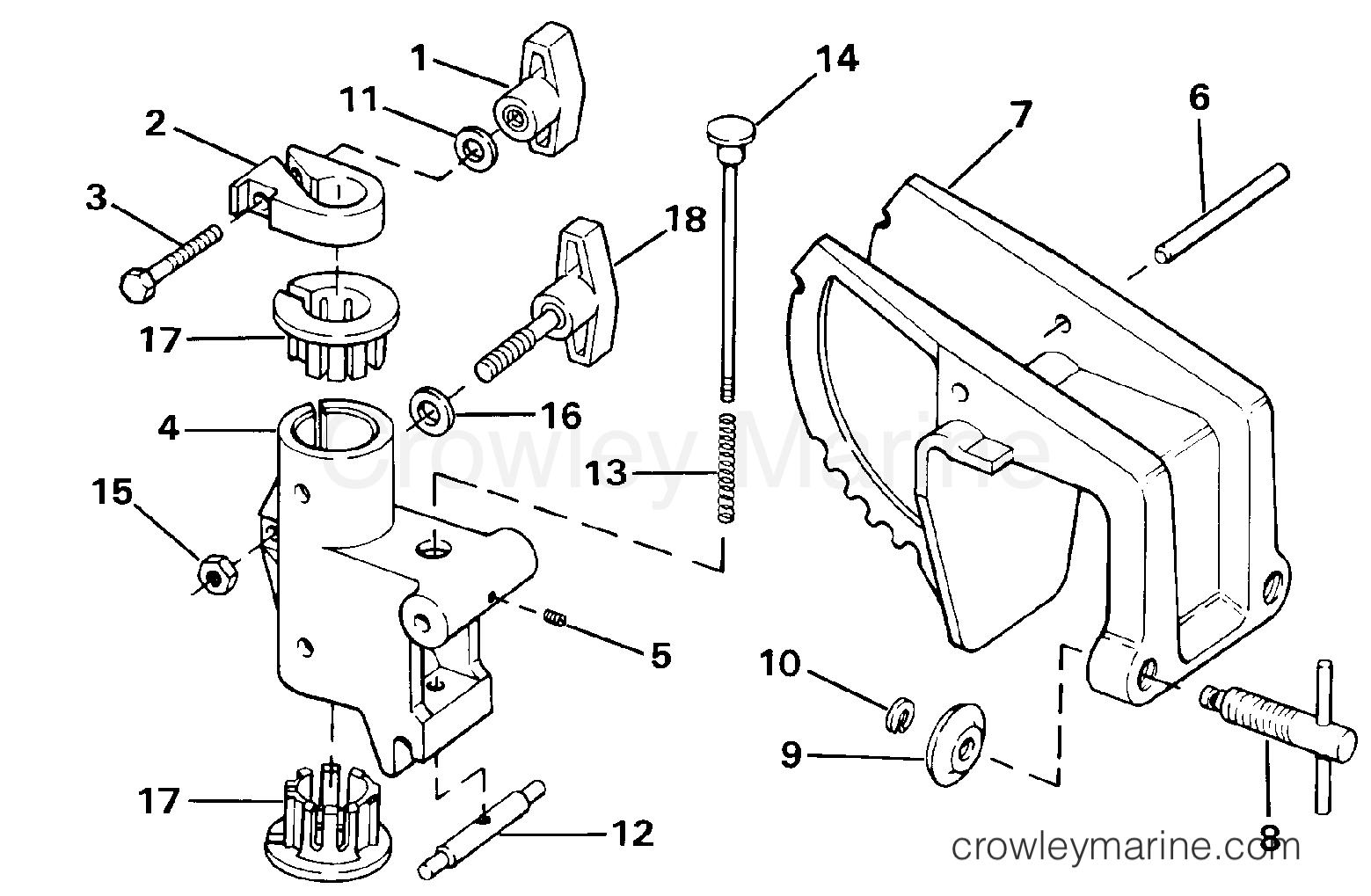 1990 Electric Motors 24 Volt - BHL4K - TRANSOM MOUNT BRACKET
