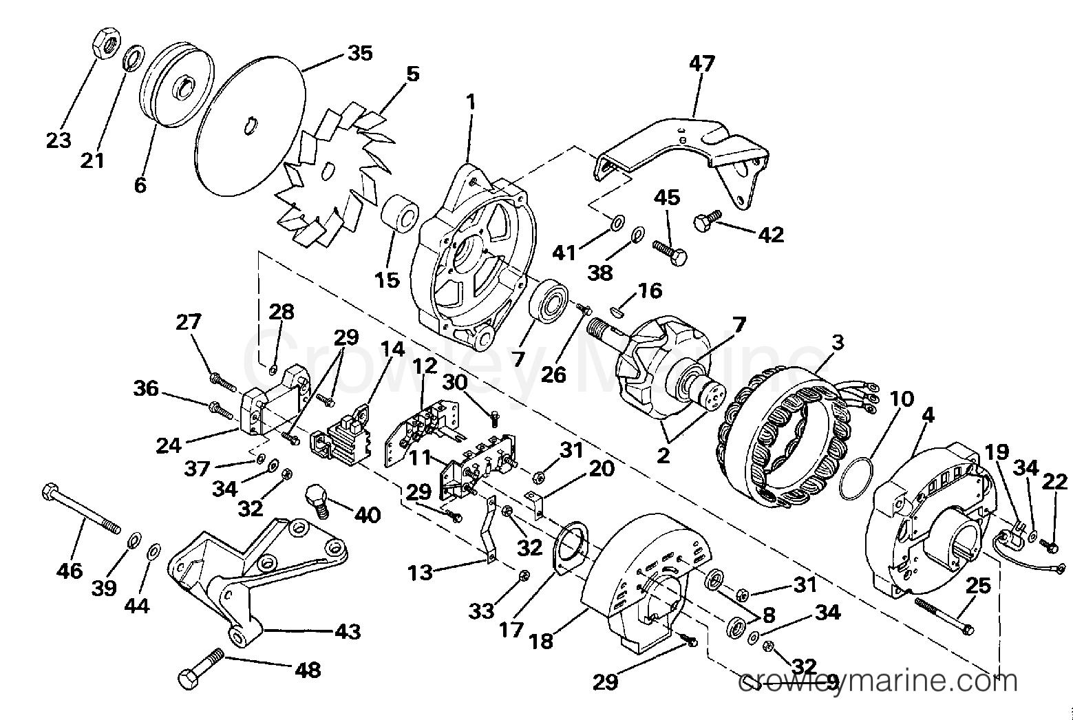1990 OMC Stern Drive 2.3 - 232BMRPWS ALTERNATOR section
