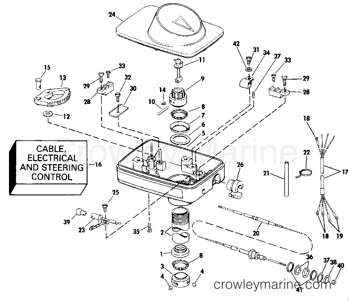 "1990 Electric Motors 24 Volt - BF4K STEERING HOUSING GROUP/FOOT CONTROL (""A"" OR ""Y"" MDL SUFFIX) section"