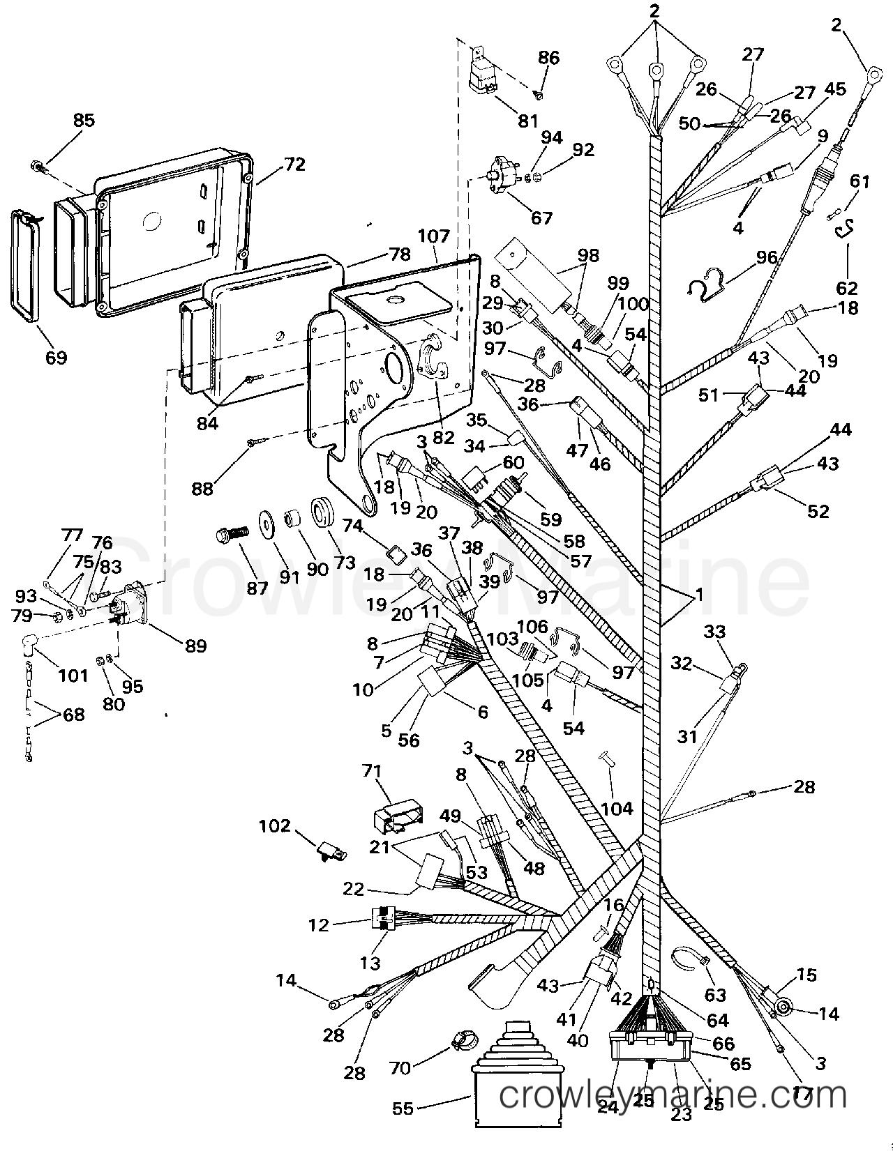 1994 OMC Stern Drive 5.8 - 58FBDPMDA - ENGINE WIRE HARNESS & BRACKET