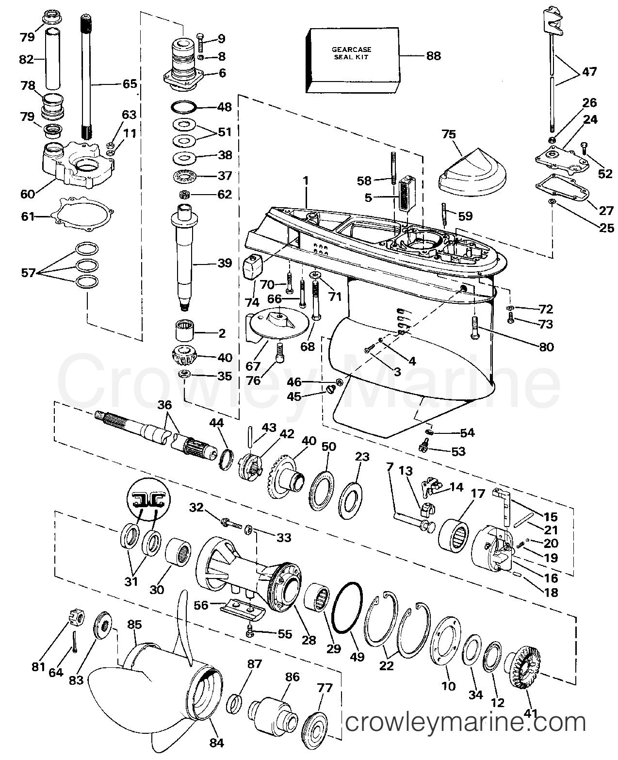 Omc Water Pump Diagram Wiring Harness Adapter Lower Gearcase Stern Drive Amarj Crowley Marine Crowleymarine Com Sterndrive Parts