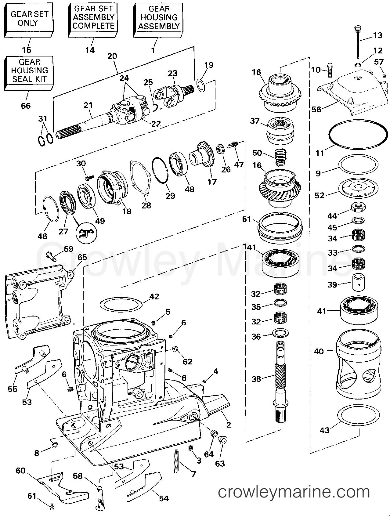 1994 OMC Stern Drive 5.8 - 58FBDPMDA - UPPER GEAR HOUSING