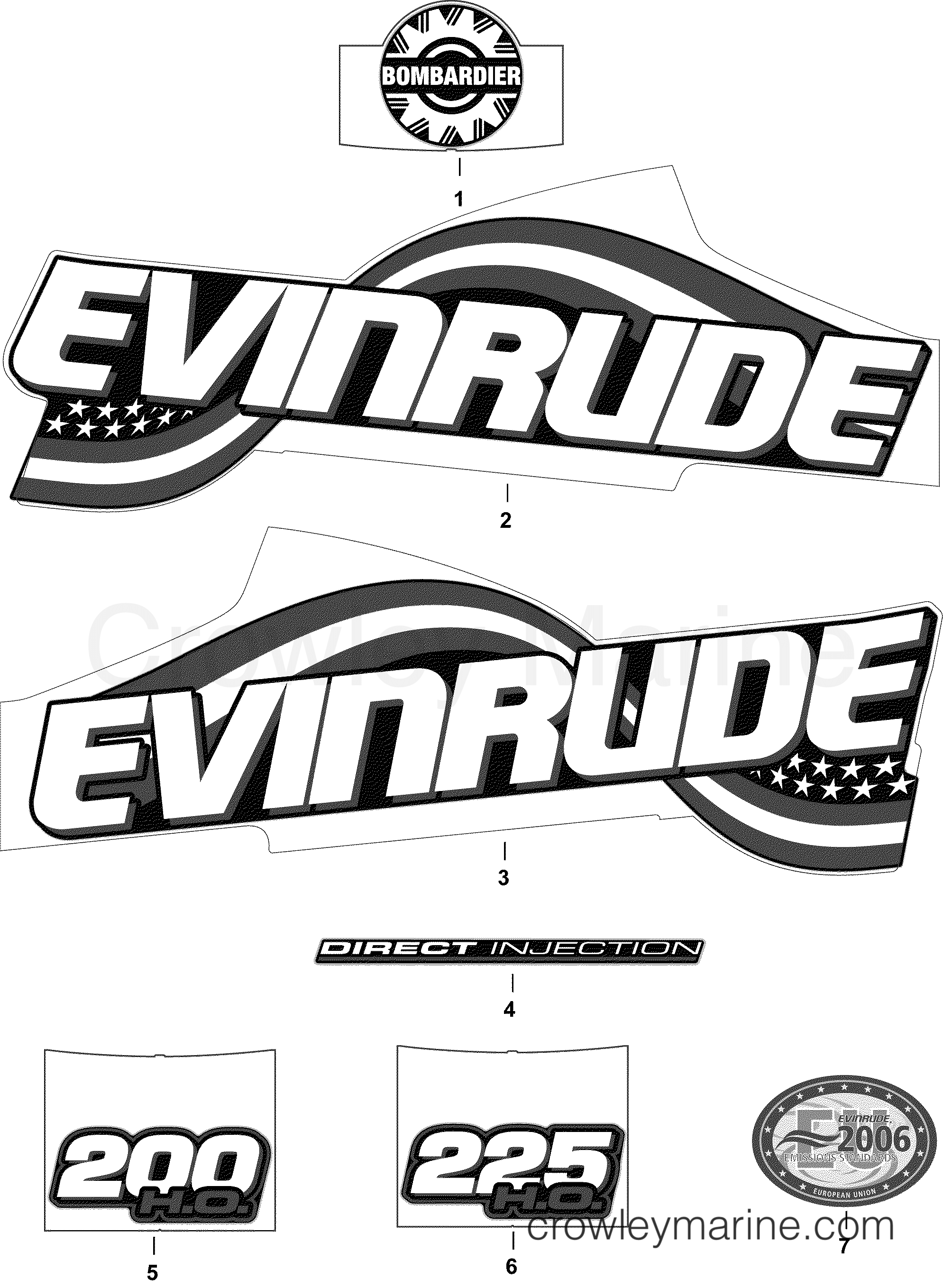 2004 Evinrude Outboards 200 - E200FHLSRC DECALS - FHL, FHX MODELS section