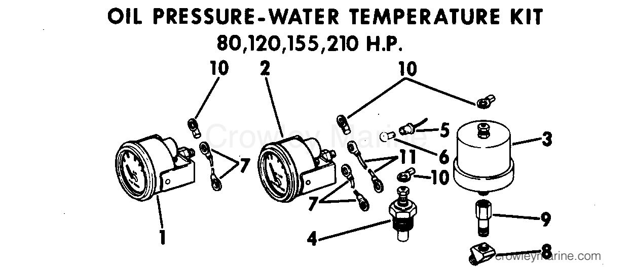 1969 OMC Stern Drive 80 - NUE-10S - OIL PRESSURE - WATER TEMPERATURE KIT 80,120,155,210 HP
