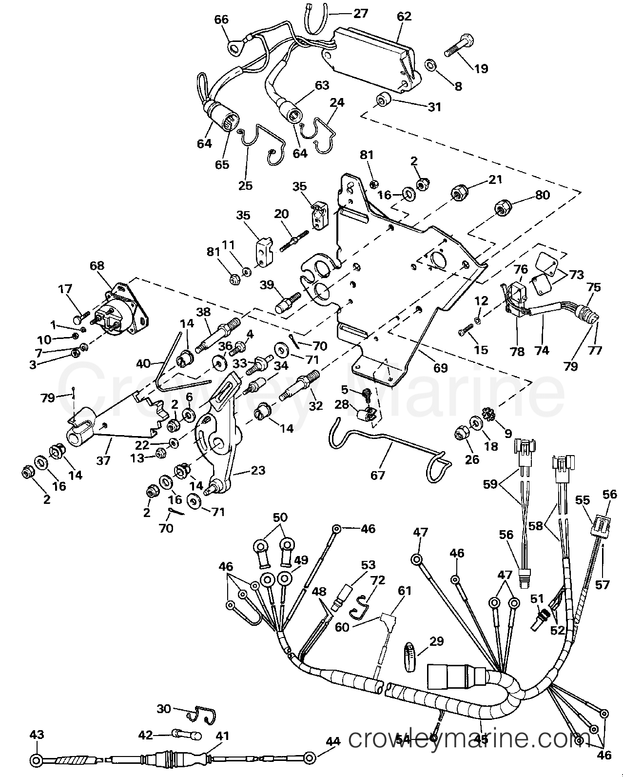 Wire Harness Bracket Solenoid 1990 Omc Stern Drive 3 302bmrpwr Shifter Wiring Diagram Section