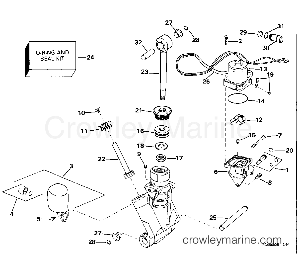 Omc Trim Tilt System Diagram Trusted Wiring Evinrude Schematics 85 Hp 1977 Power Hydraulic Assembly 1994 Outboards 60