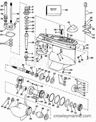 Diagram Of 1988 232amrgde Omc Cobra Sterndrive Lower Gearcase