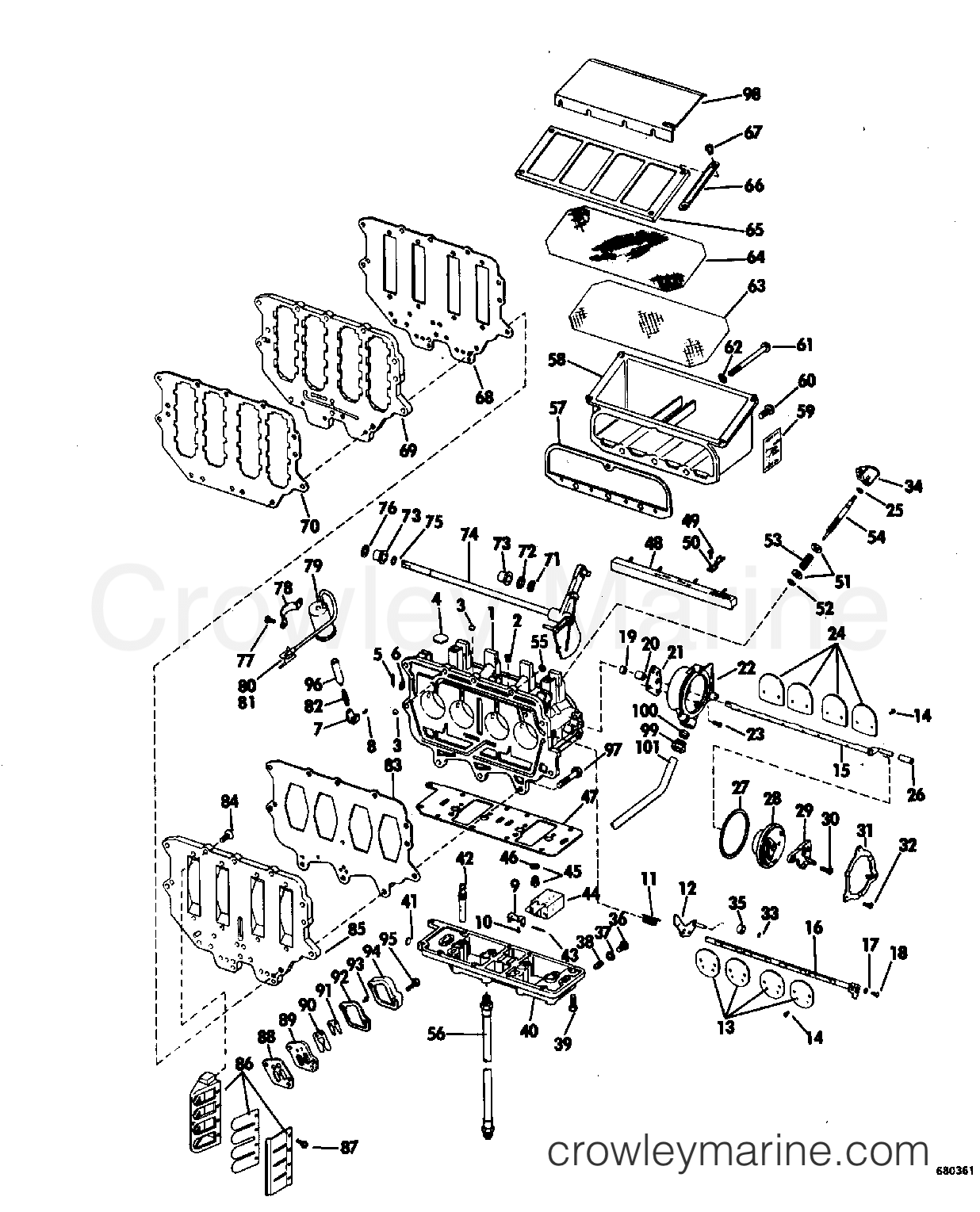 1968 OMC Stern Drive 90 - DU-15S CARBURETOR GROUP section