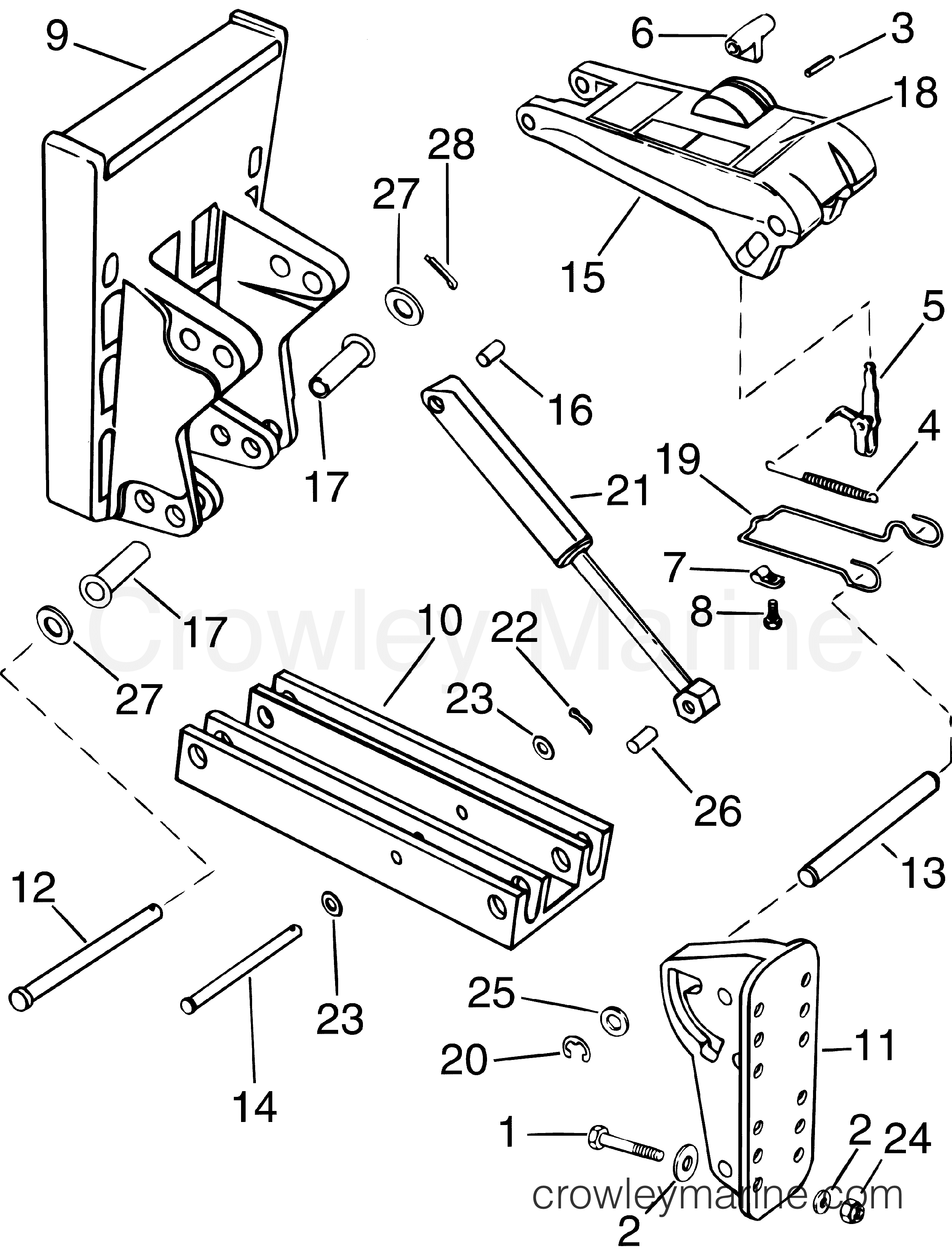 AUXILIARY ENGINE BRACKET - 125 LB (56.6 KG) CAPACITY