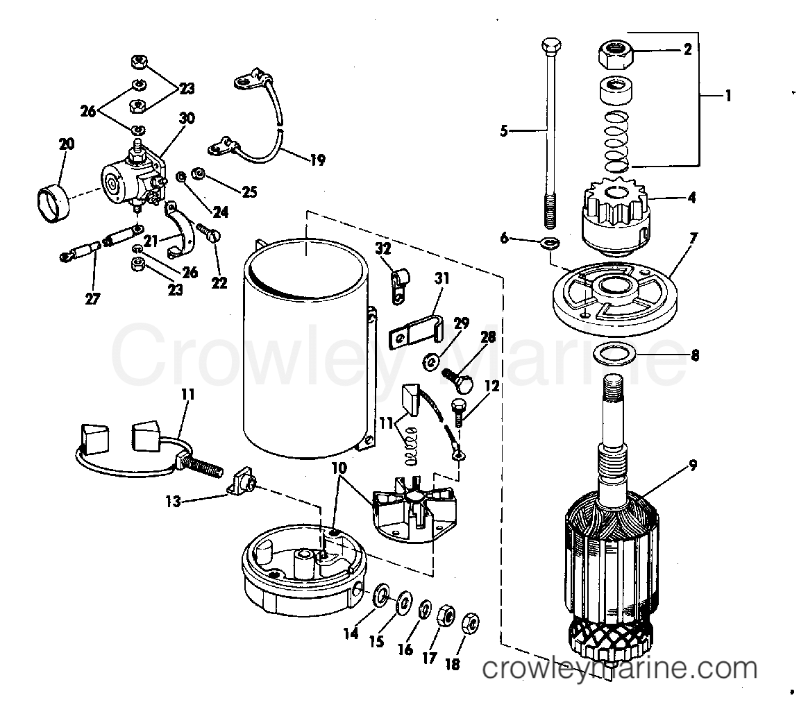 1983 Evinrude Outboards 200 - E200TRXCTD - ELECTRIC STARTER & SOLENOID AMERICAN BOSCH 08142-23-M030SM section