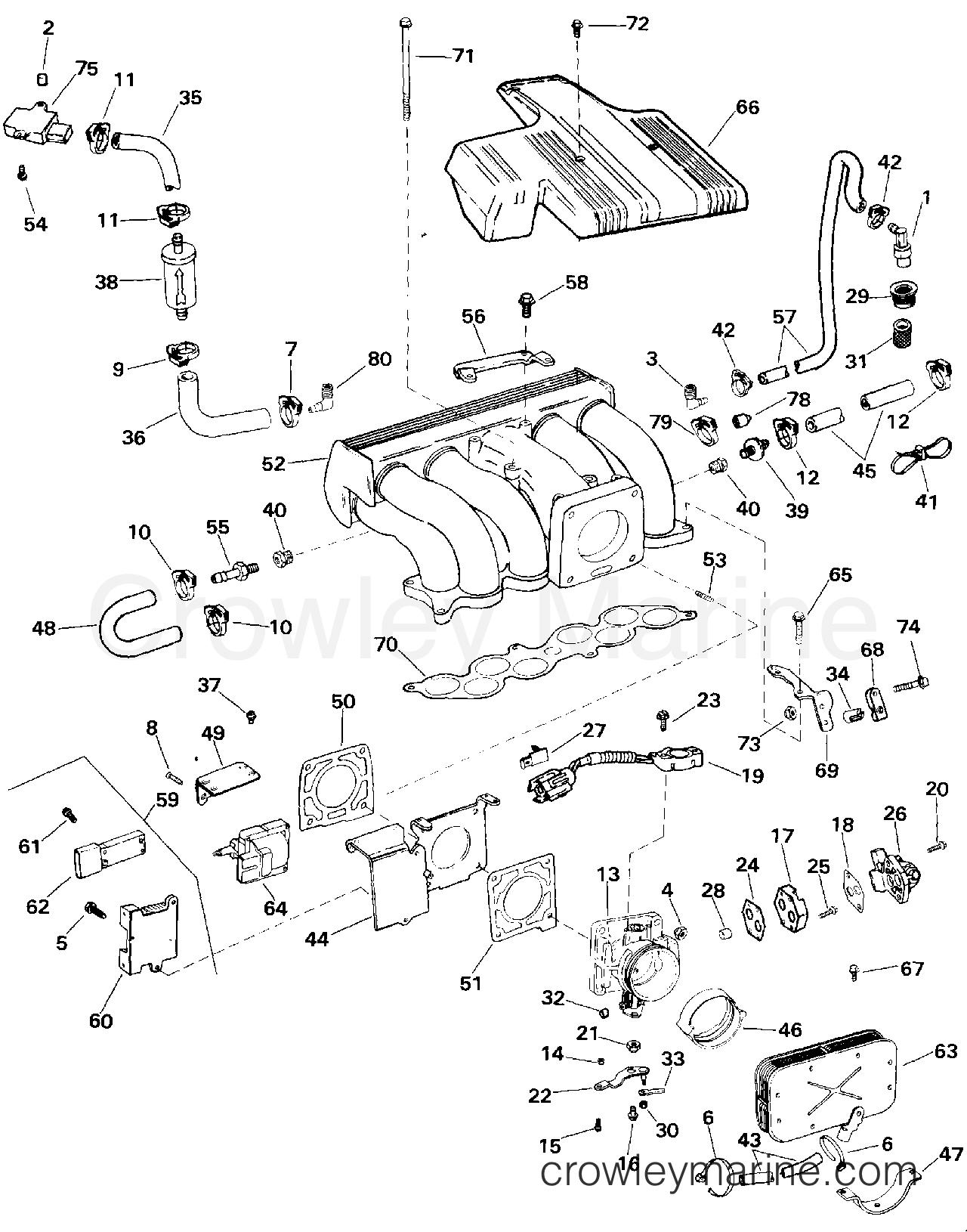 1994 OMC Stern Drive 5.8 - 58FAGPMDM - UPPER INTAKE MANIFOLD - 5.0 LITRE MODELS